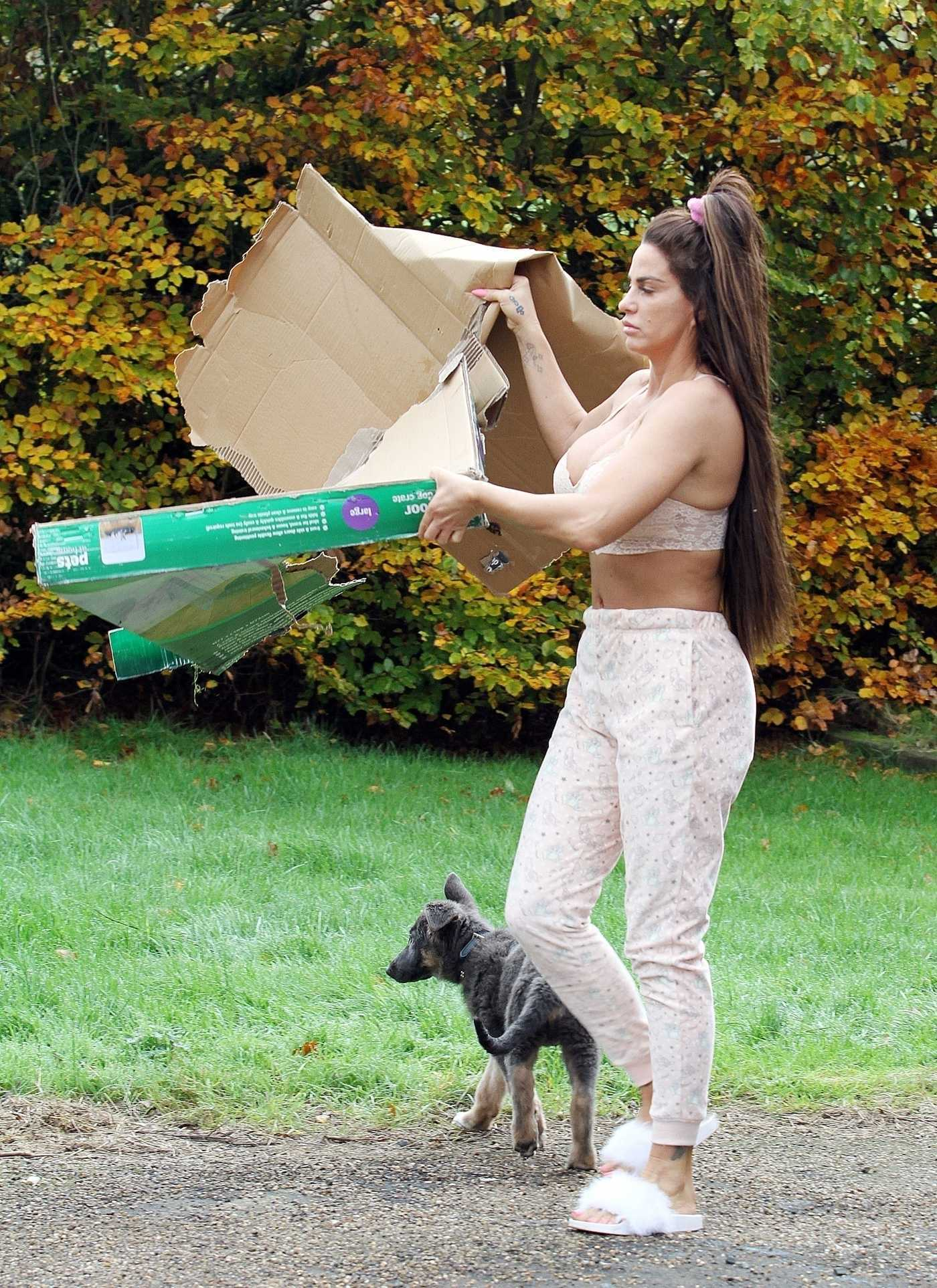 Katie Price Puts the Rubbish Away in Her Bedroom Joggers and Bra in London 11/11/2018