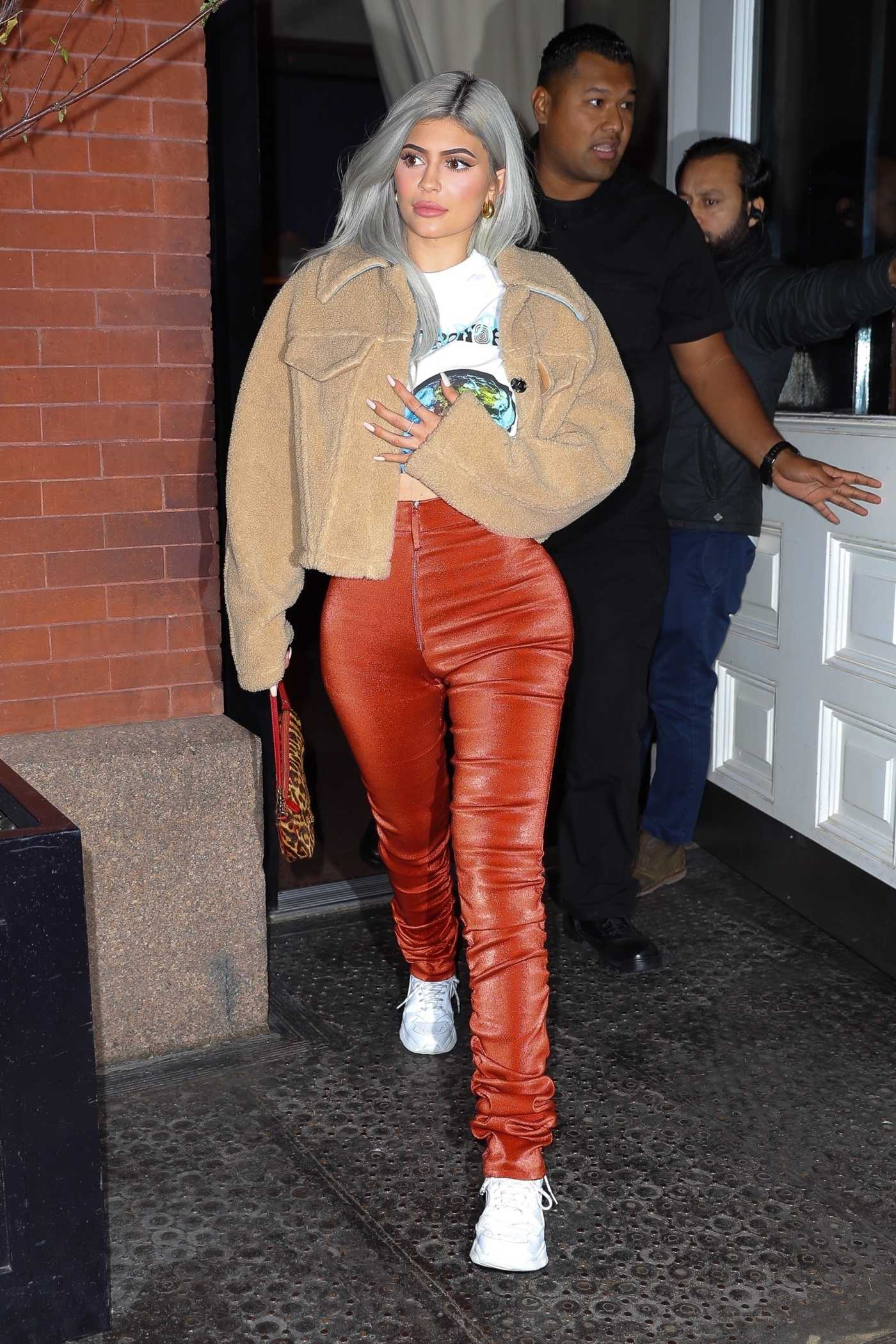 Kylie Jenner in a Red Pants Was Seen Out in New York 11/27/2018