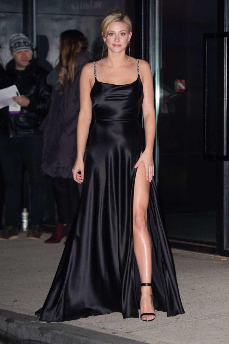 Lili Reinhart in a Black Evening Dress