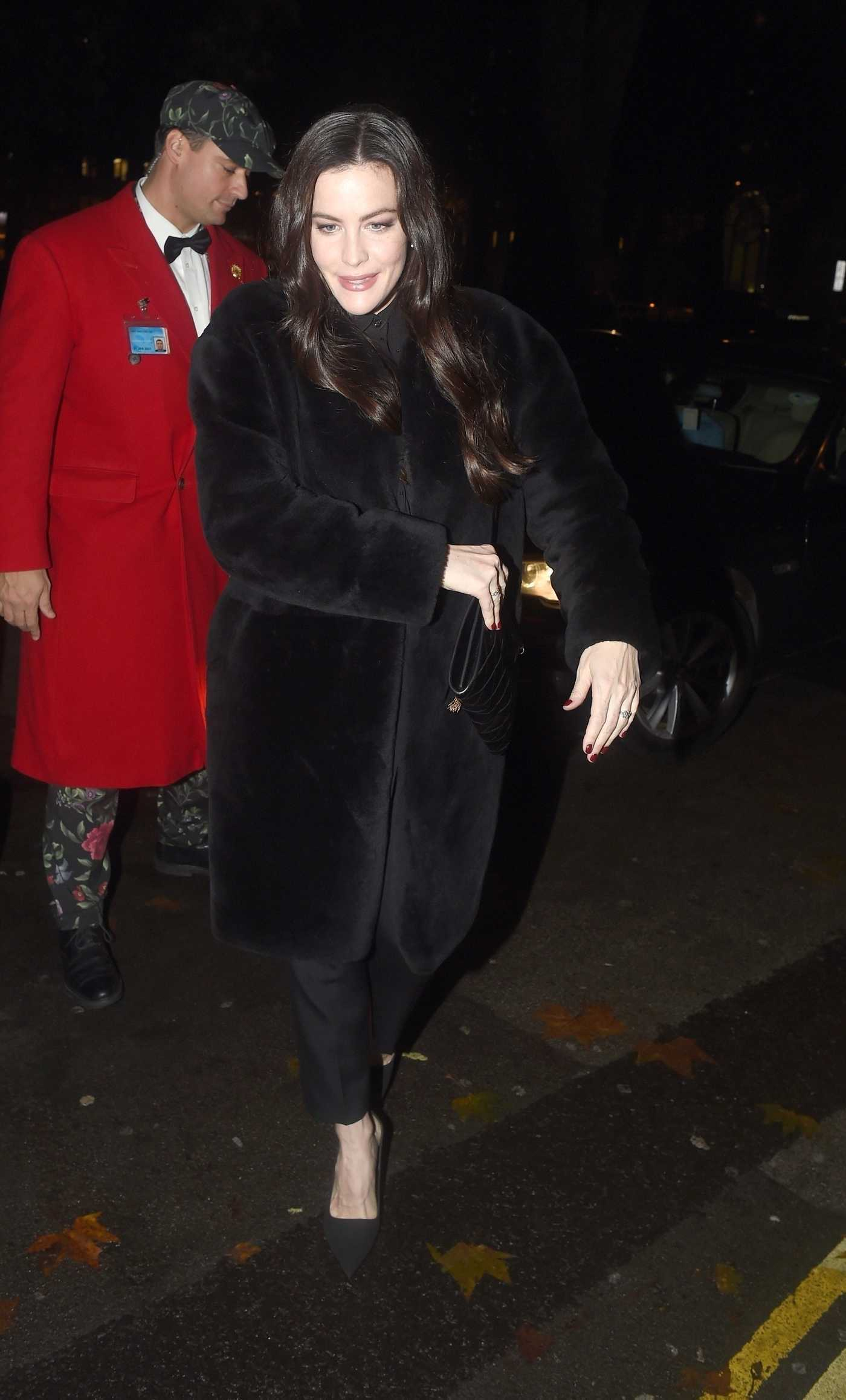 Liv Tyler in a Black Fur Coat Arrives at Goldie's Love in Charity Fundraiser at Annabel's in London 11/12/2018