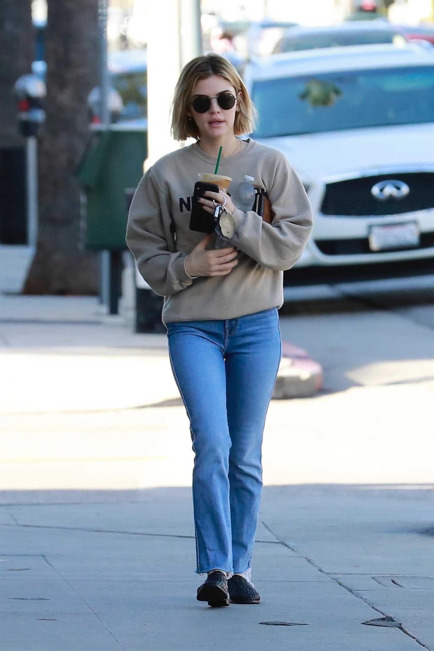 Lucy Hale in a Beige Sweatshirt Was Seen Out in Studio City 11/27/2018