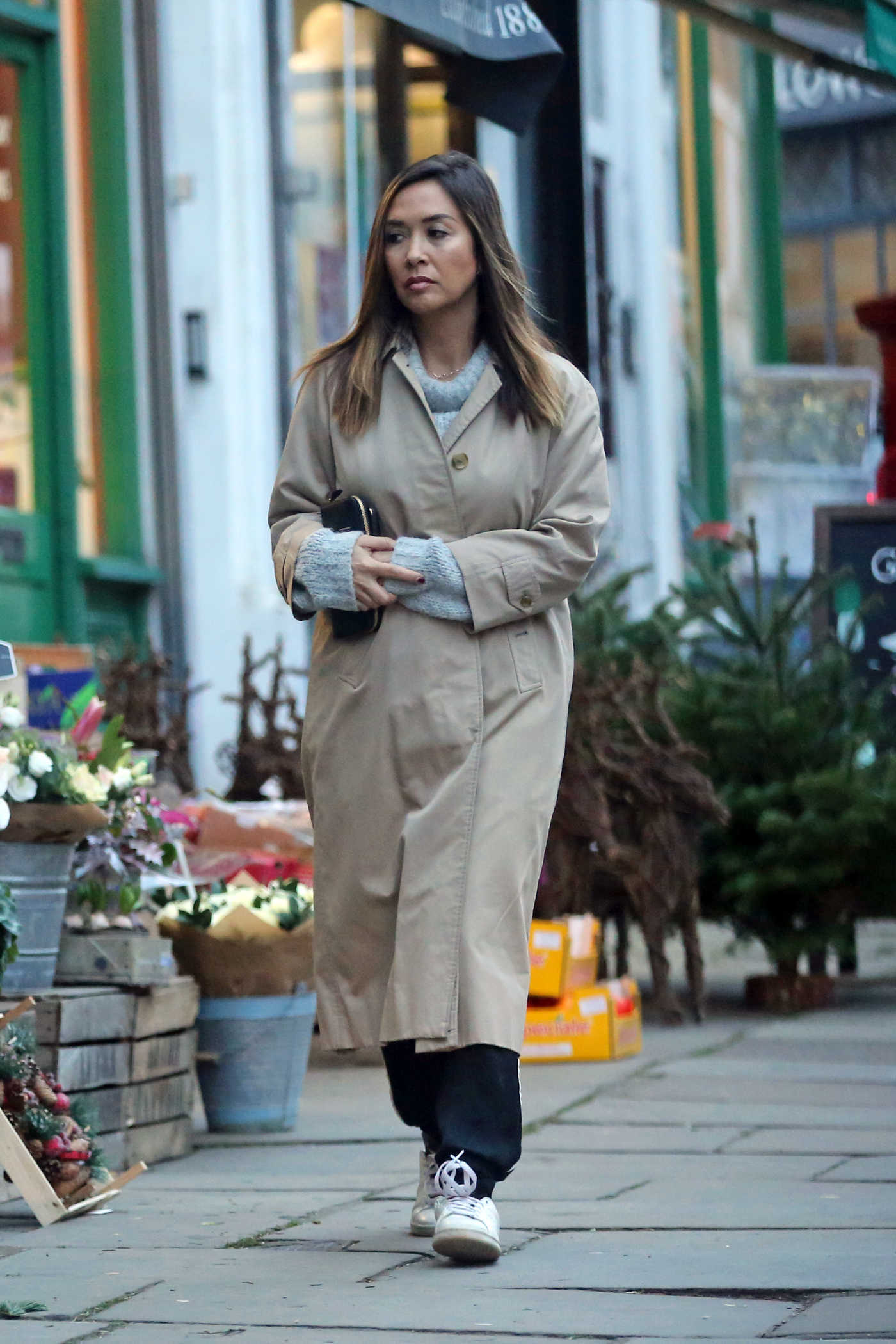 Myleene Klass in a Beige Trench Coat Was Seen Out in North London 11/26/2018