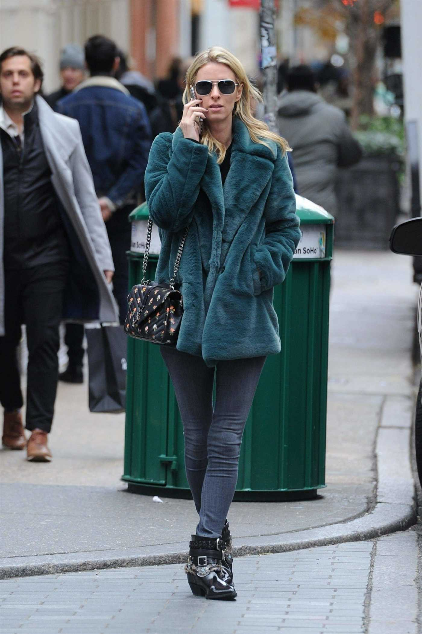 Nicky Hilton in a Short Green Fur Coat Was Seen Out in Soho, New York City 11/27/2018
