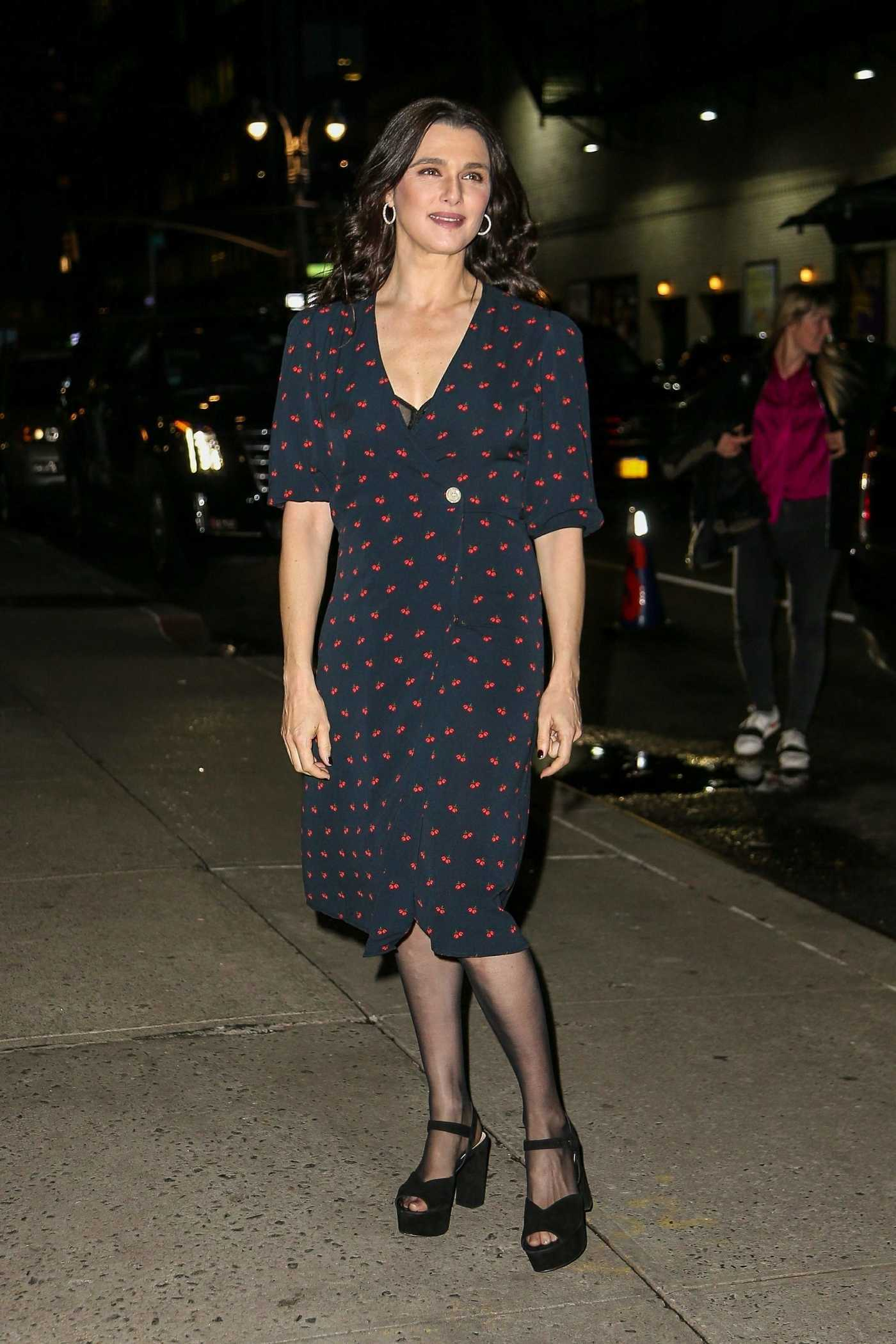 Rachel Weisz in a Black Dress Leaves the Late Show with Stephen Colbert in New York 11/13/2018