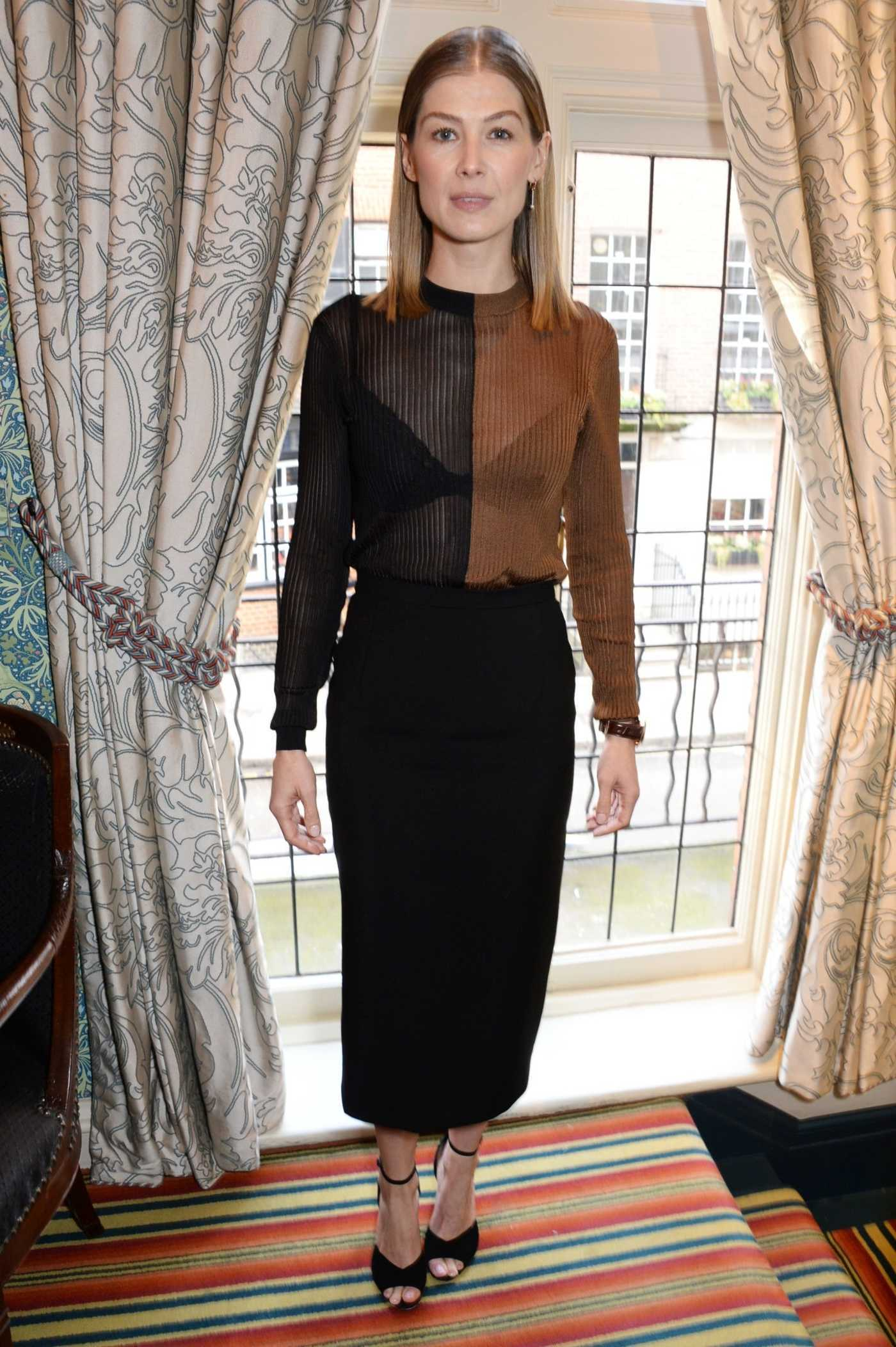 Rosamund Pike Attends A Private War Lunch in Honour of Rosamund Pike Hosted by Vhernier in London 11/21/2018