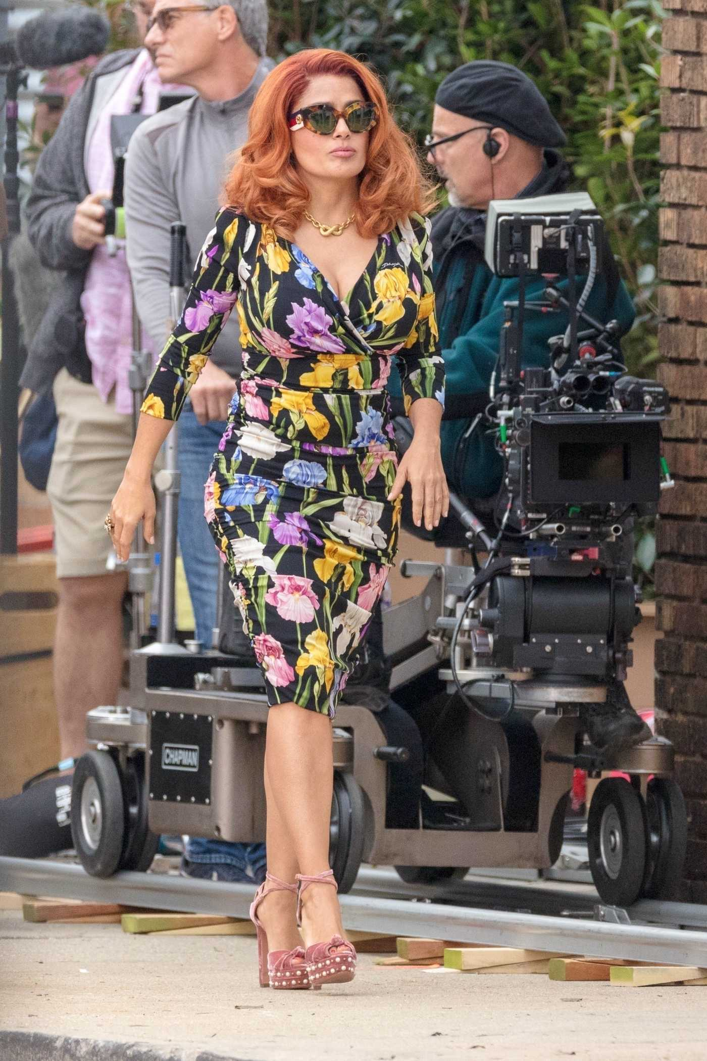 Salma Hayek in a Floral Dress on the Set of Limited Partners in Atlanta 11/05/2018