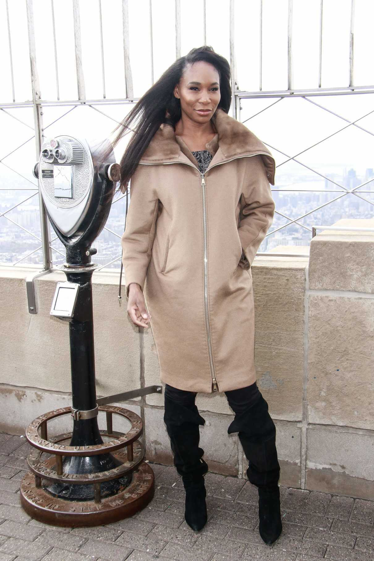 Venus Williams Attends the Empire State Building in New York 11/21/2018