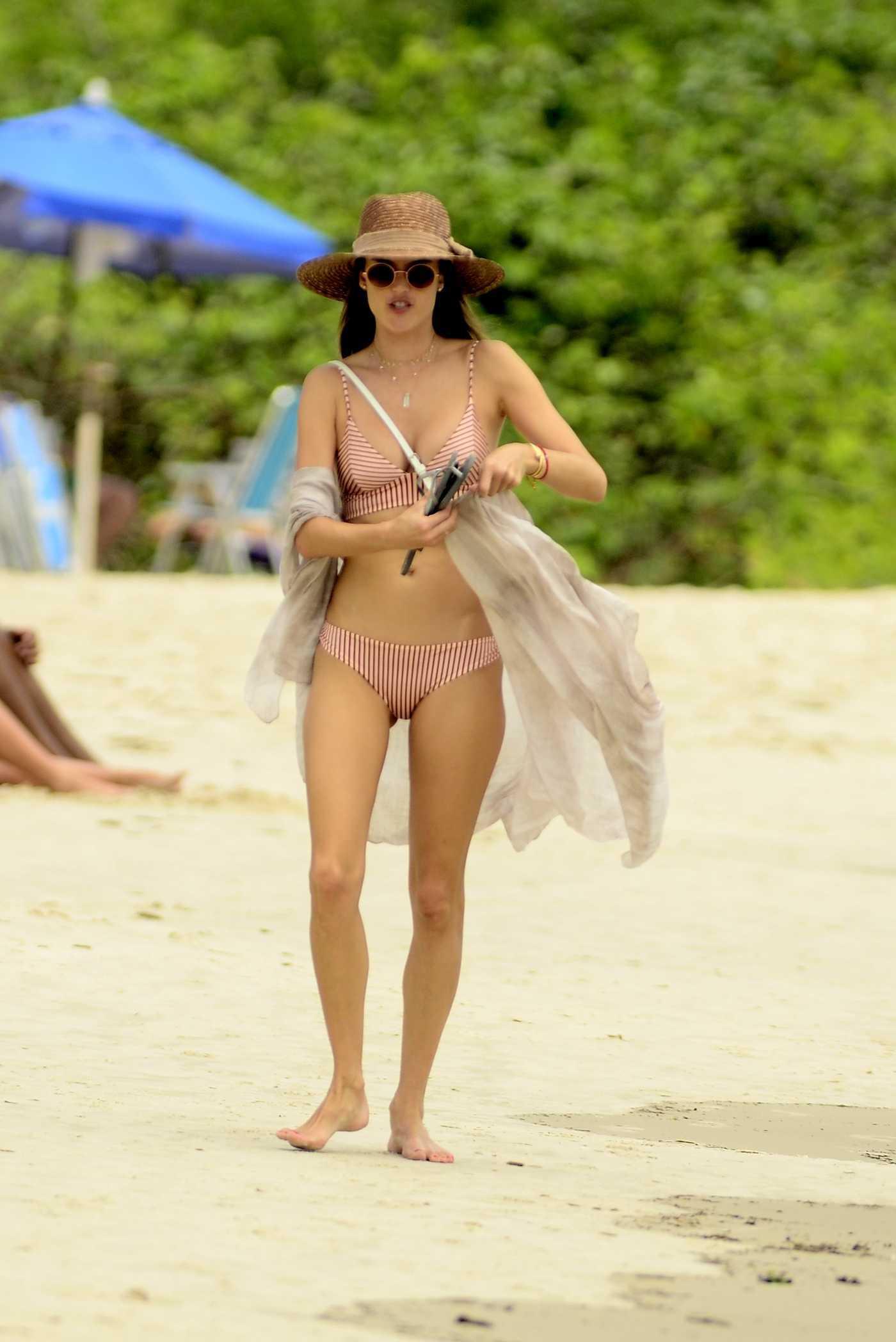 Alessandra Ambrosio in a Beige Striped Bikini on the Beach in Florianopolis, Brazil 12/23/2018