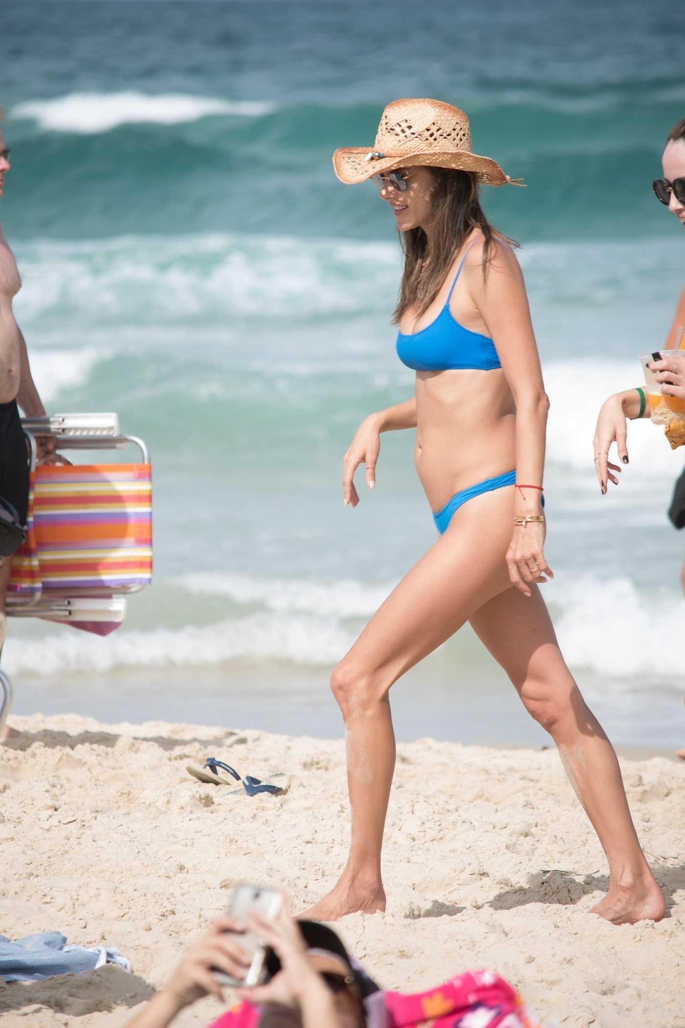 Alessandra Ambrosio in a Blue Bikini on the Beach in Florianopolis, Brazil 12/26/2018