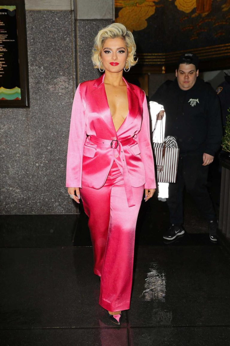 Bebe Rexha in a Pink Suit