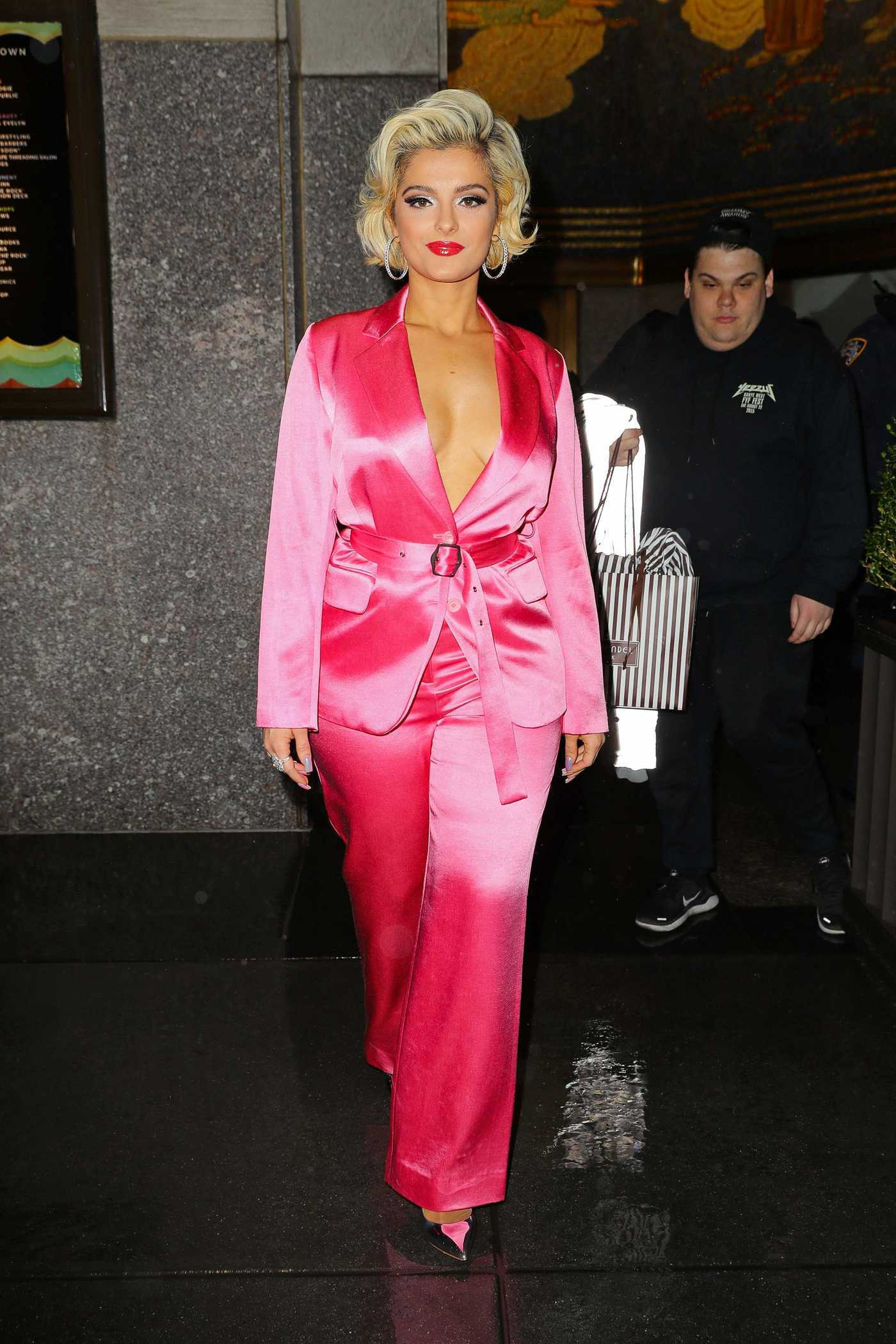 Bebe Rexha in a Pink Suit Leaves The Tonight Show Starring Jimmy Fallon in New York City 12/20/2018