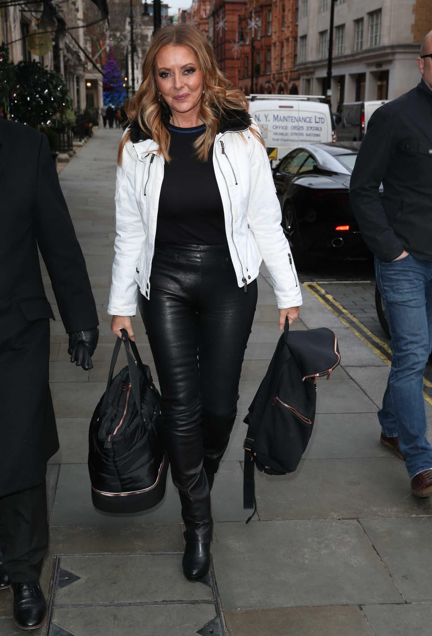 Carol Vorderman in a White Jacket Arrives at Scott's Restaurant in London 12/20/2018