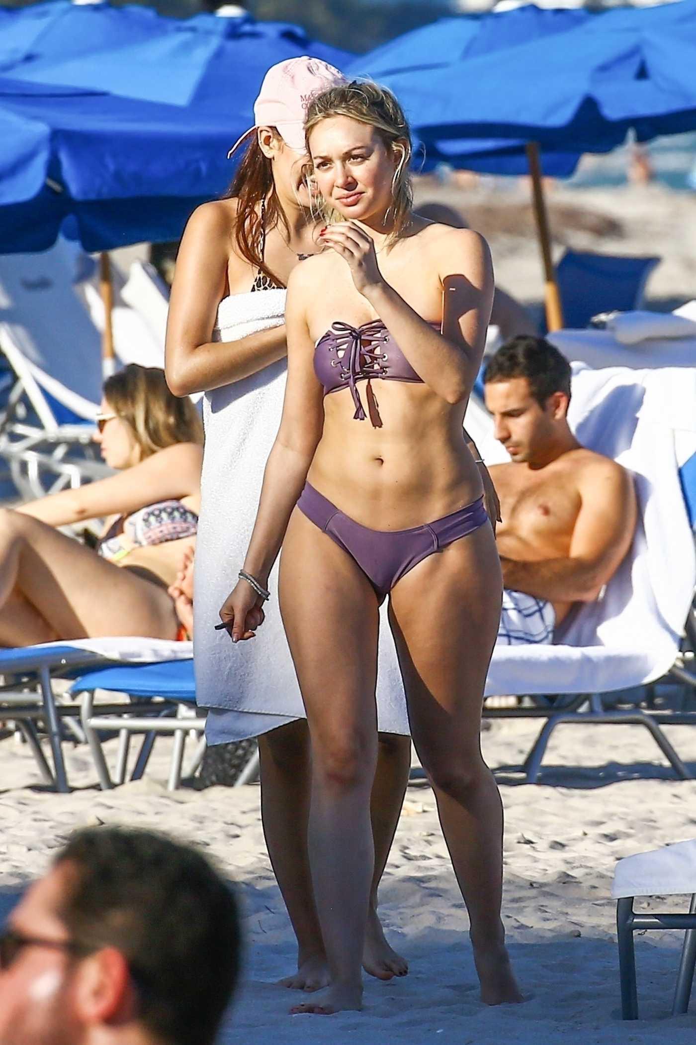 Corinne Olympios in a Purple Bikini on the Beach in Miami 12/25/2018