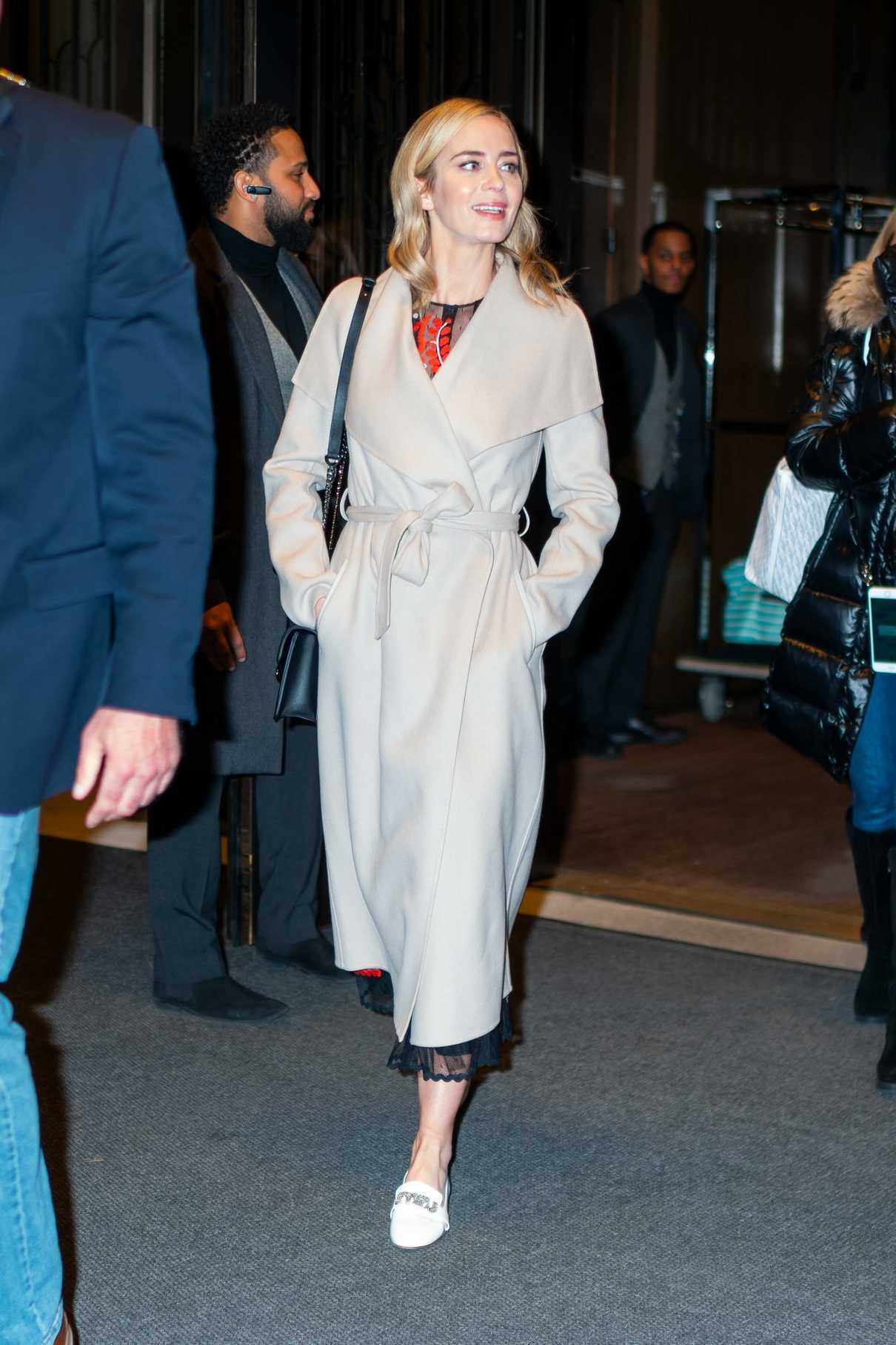 Emily Blunt in a Beige Coat Leaves Her Hotel in New York City 12/01/2018