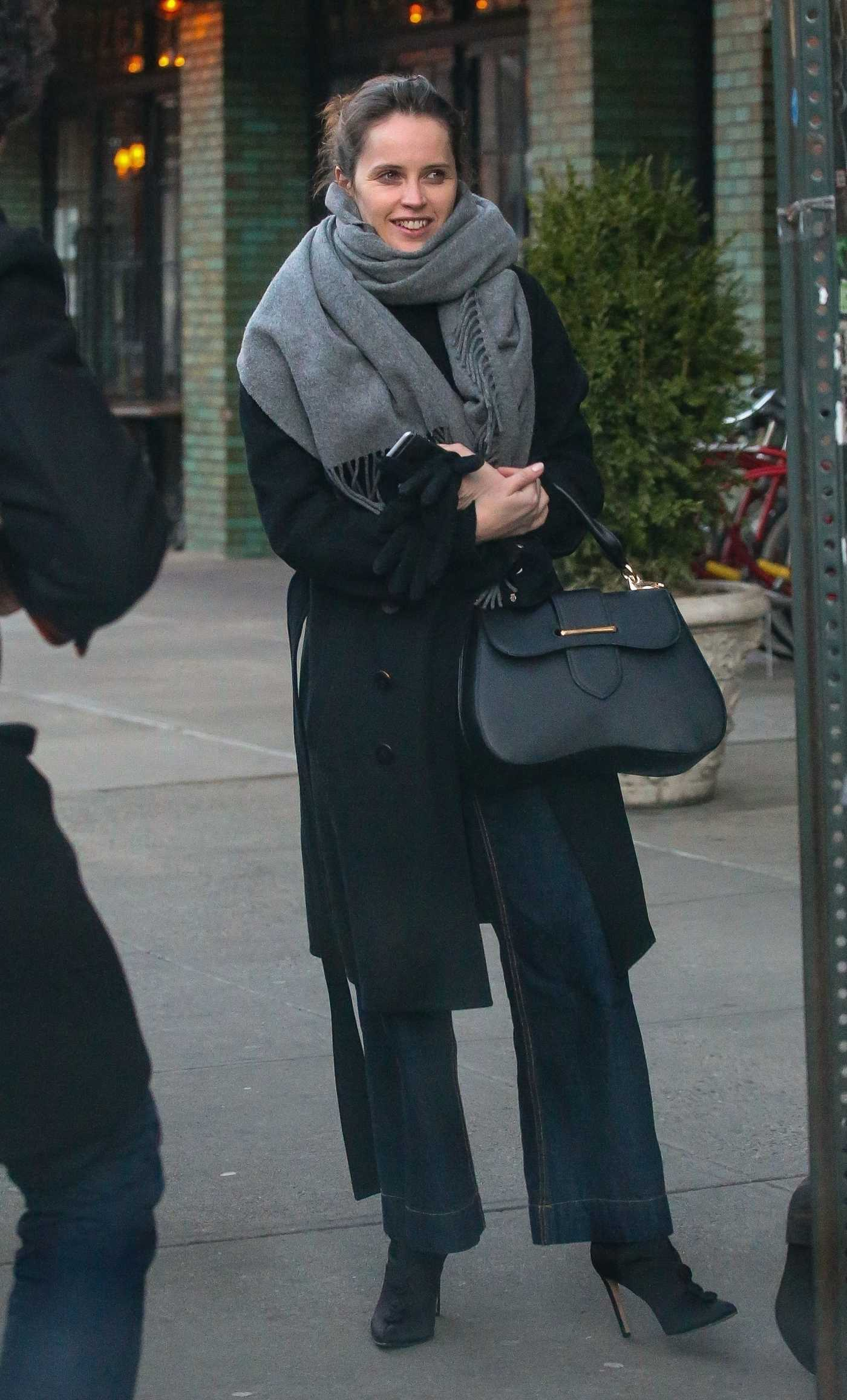 Felicity Jones in a Black Coat Was Seen Out in New York 12/21/2018