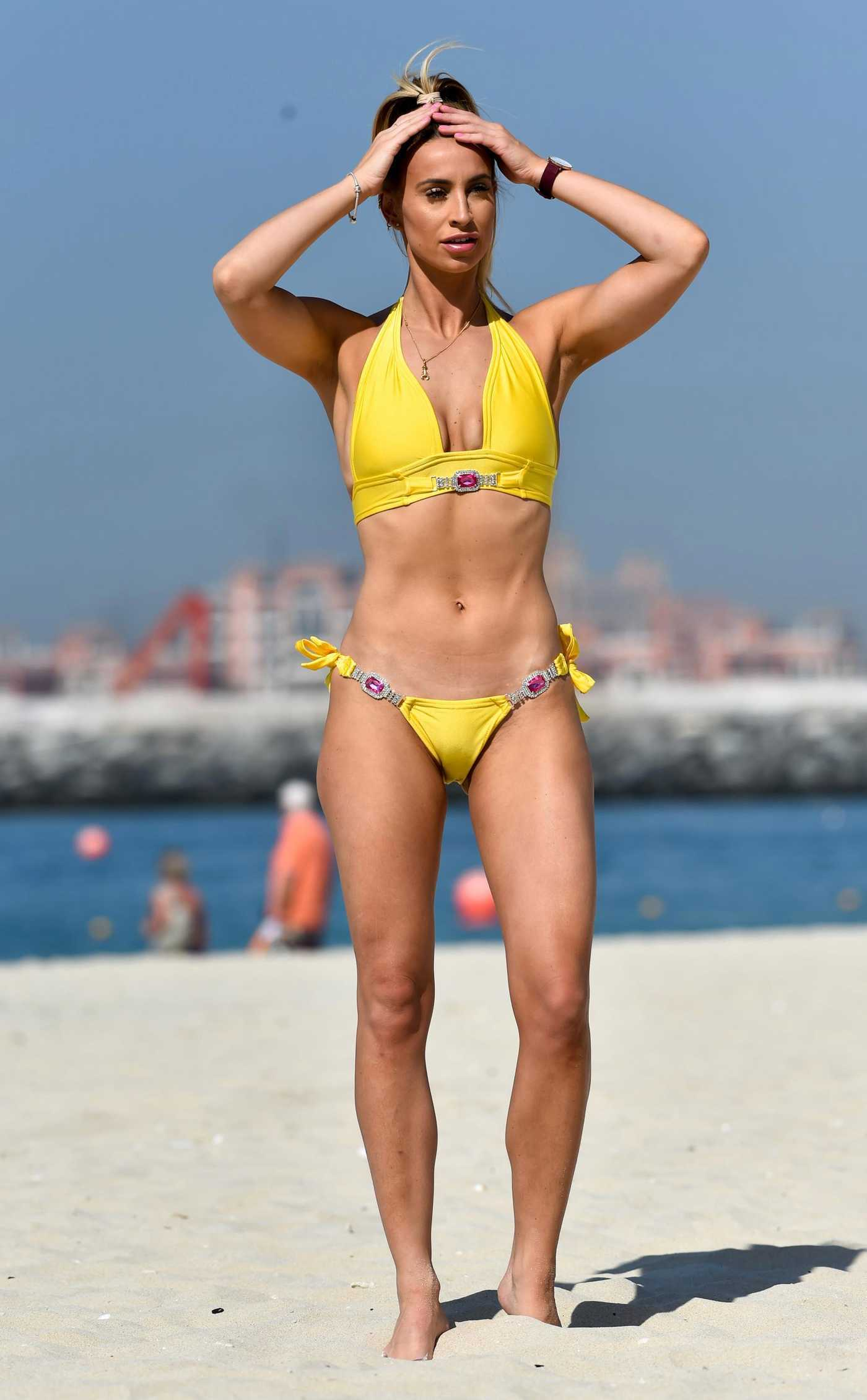 Ferne McCann in a Yellow Bikini on the Beach in Dubai 12/29/2018