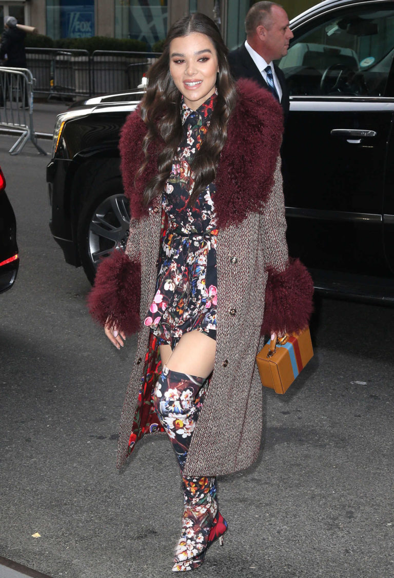 Hailee Steinfeld in a Long Floral Print Boots