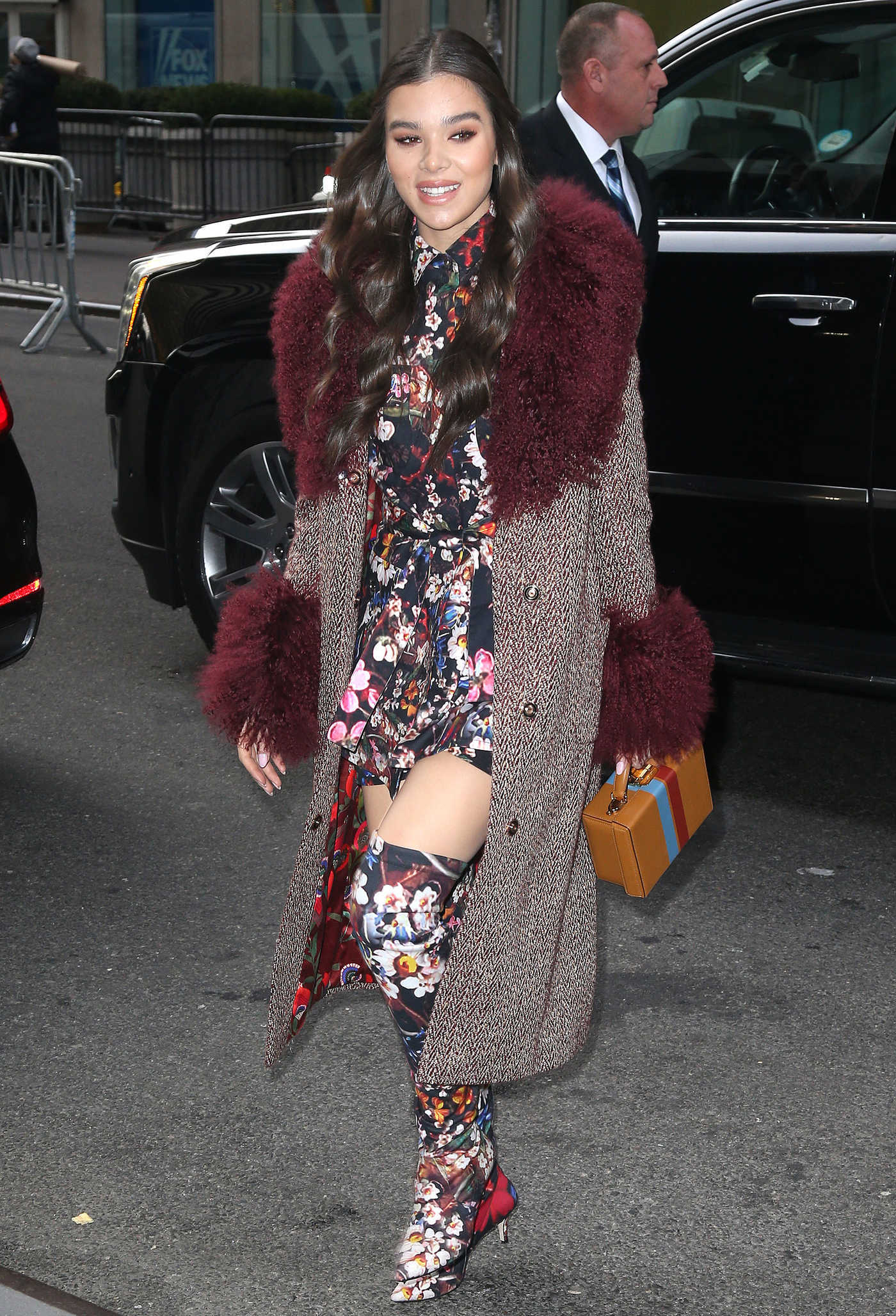 Hailee Steinfeld in a Long Floral Print Boots Leaves a Radio Show in NYC 12/20/2018