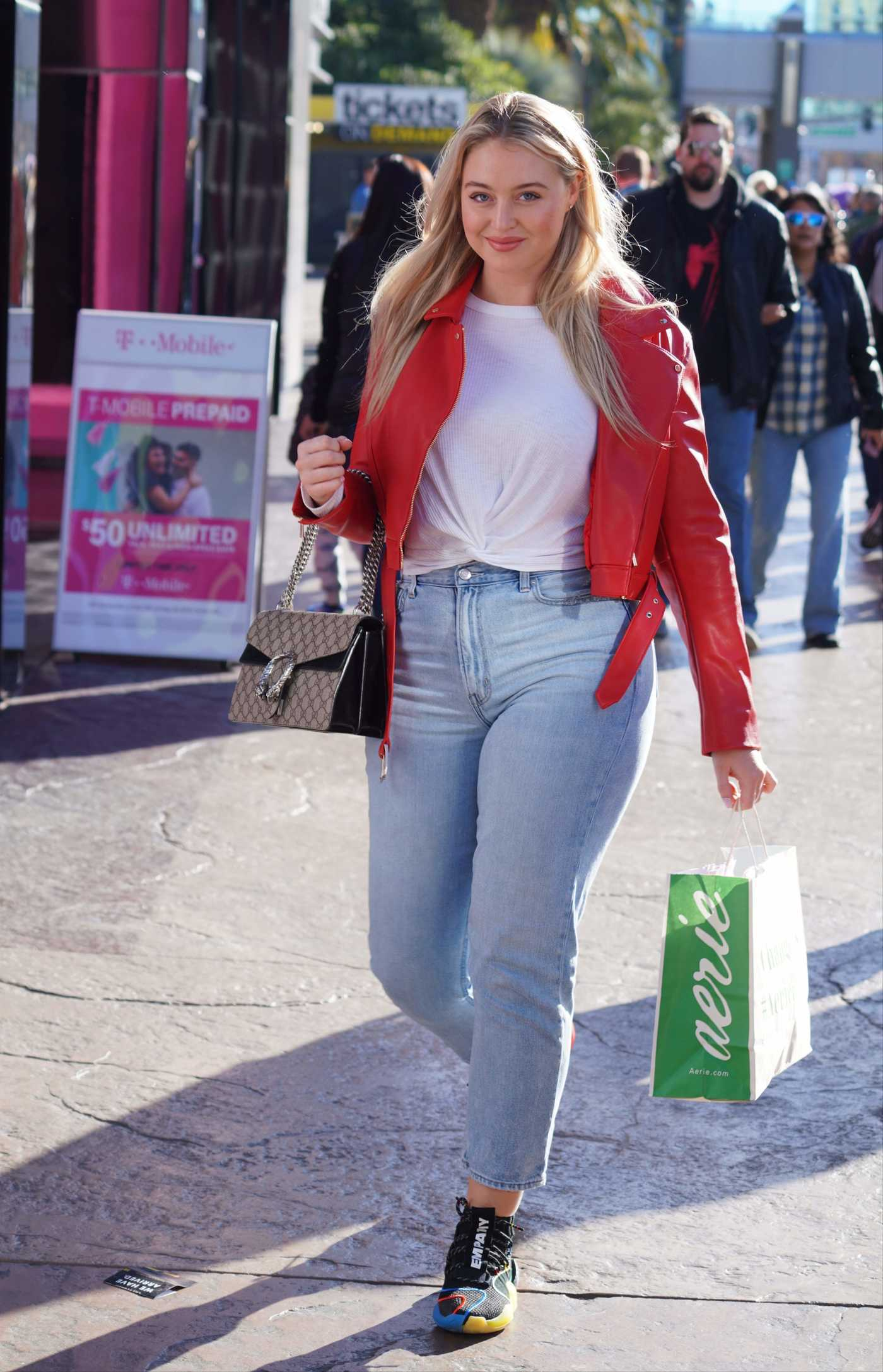 Iskra Lawrence in a Red Jacket Was Seen Out in Las Vegas 12/29/2018