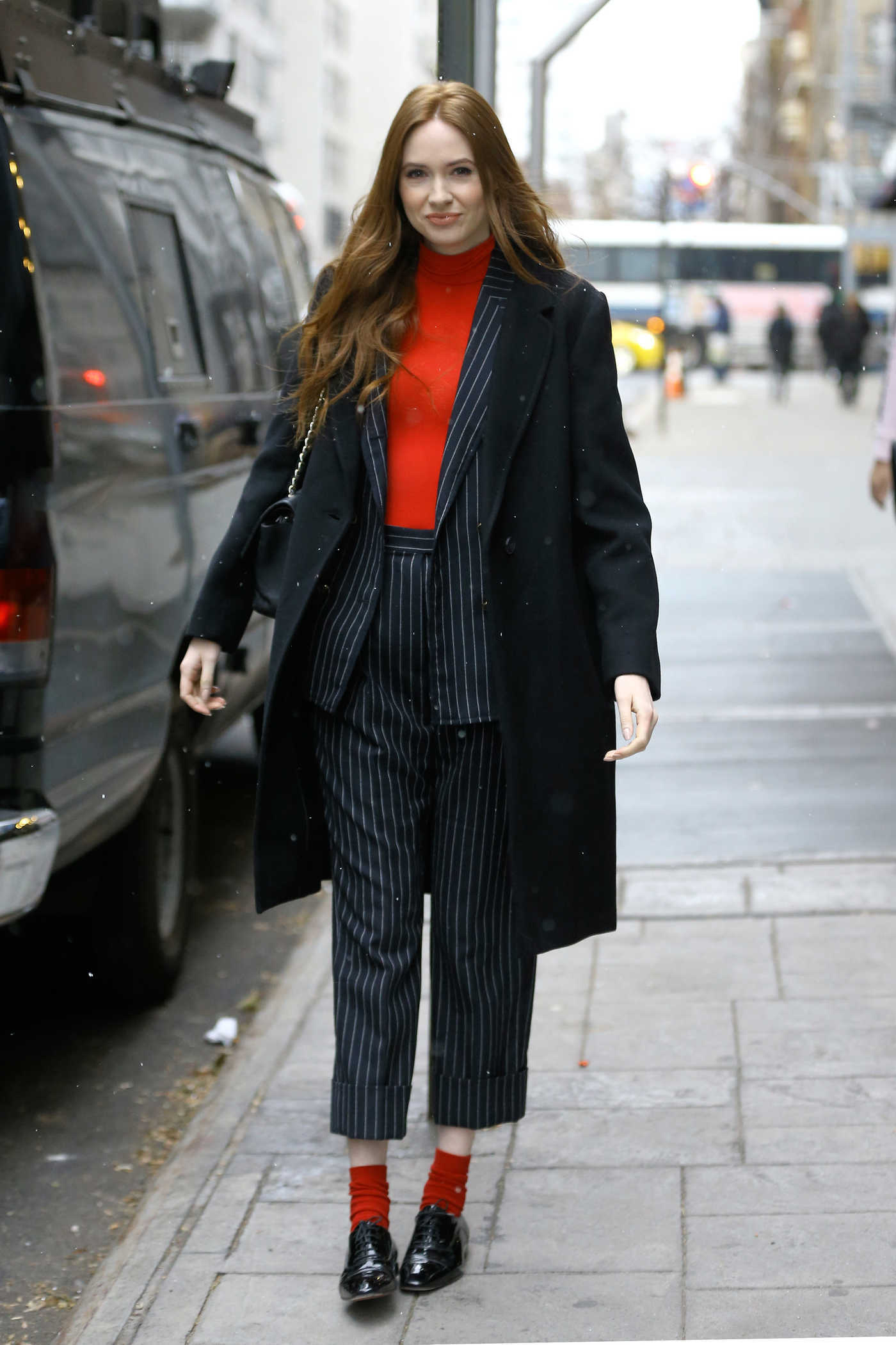 Karen Gillan in a Black Coat Was Seen Out New York 12/13/2018
