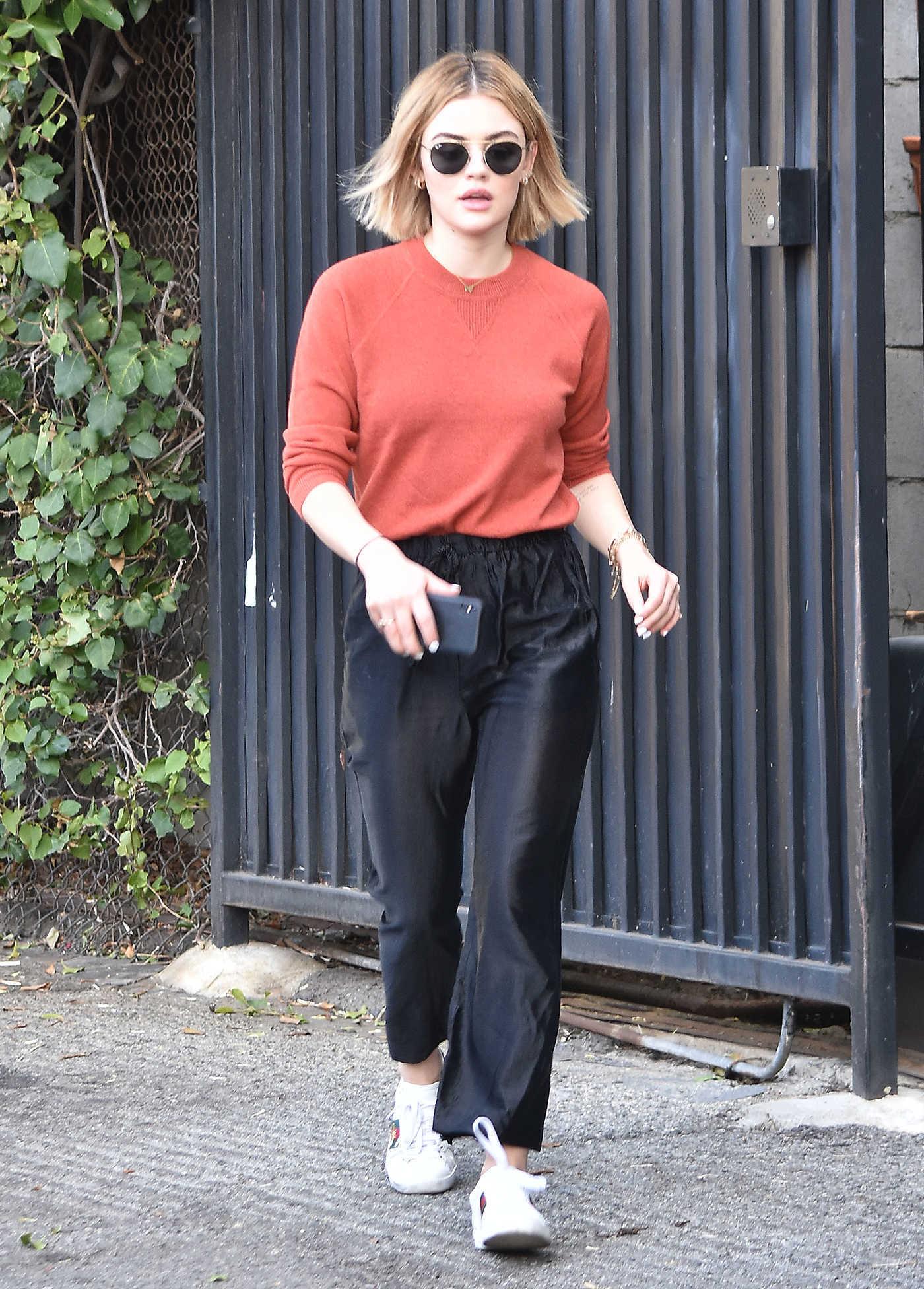 Lucy Hale in an Orange Sweater Was Seen Out in LA 12/18/2018