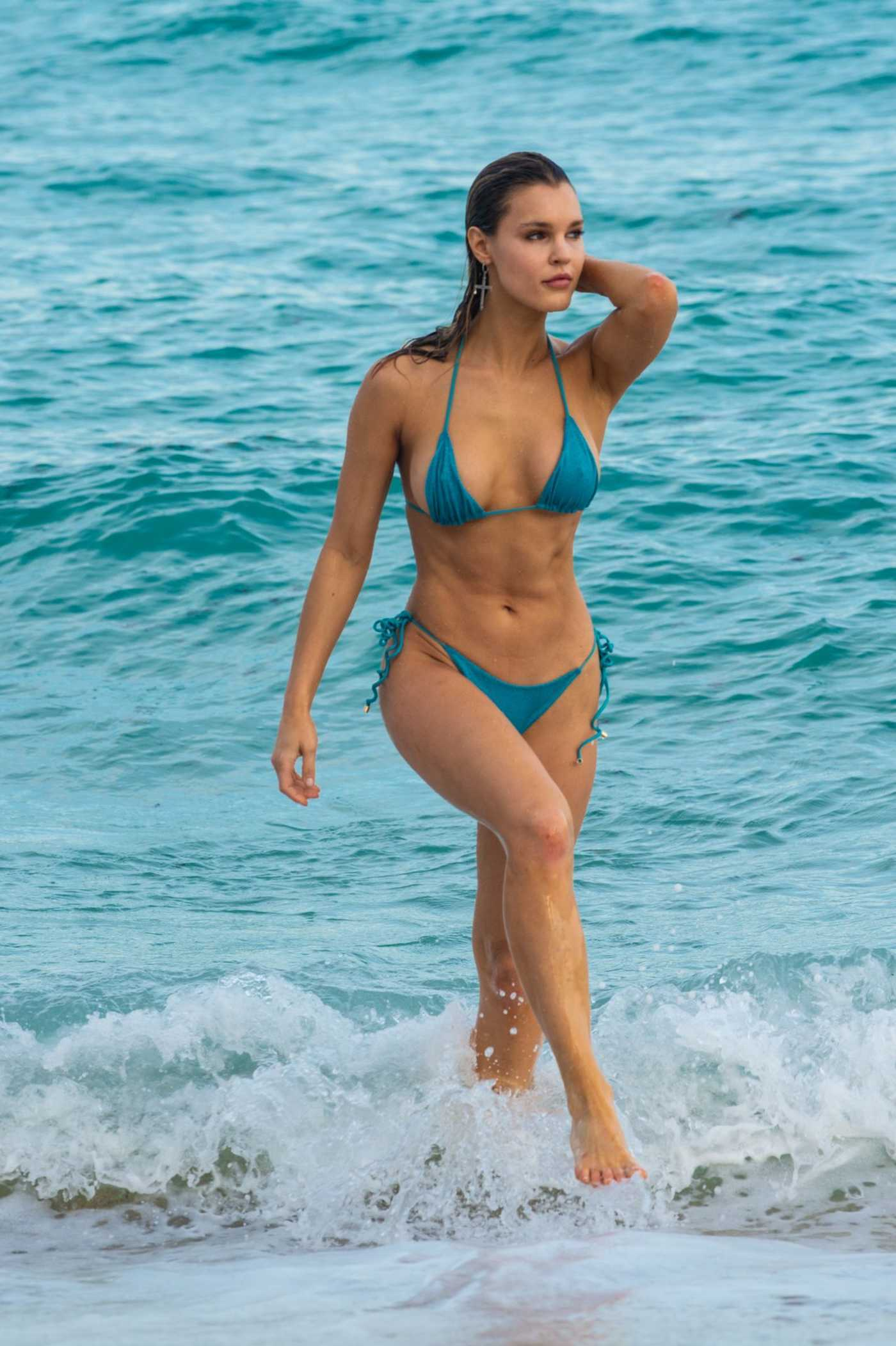 Joy Corrigan in a Blue Bikini on the Beach in Miami 12/09/2018