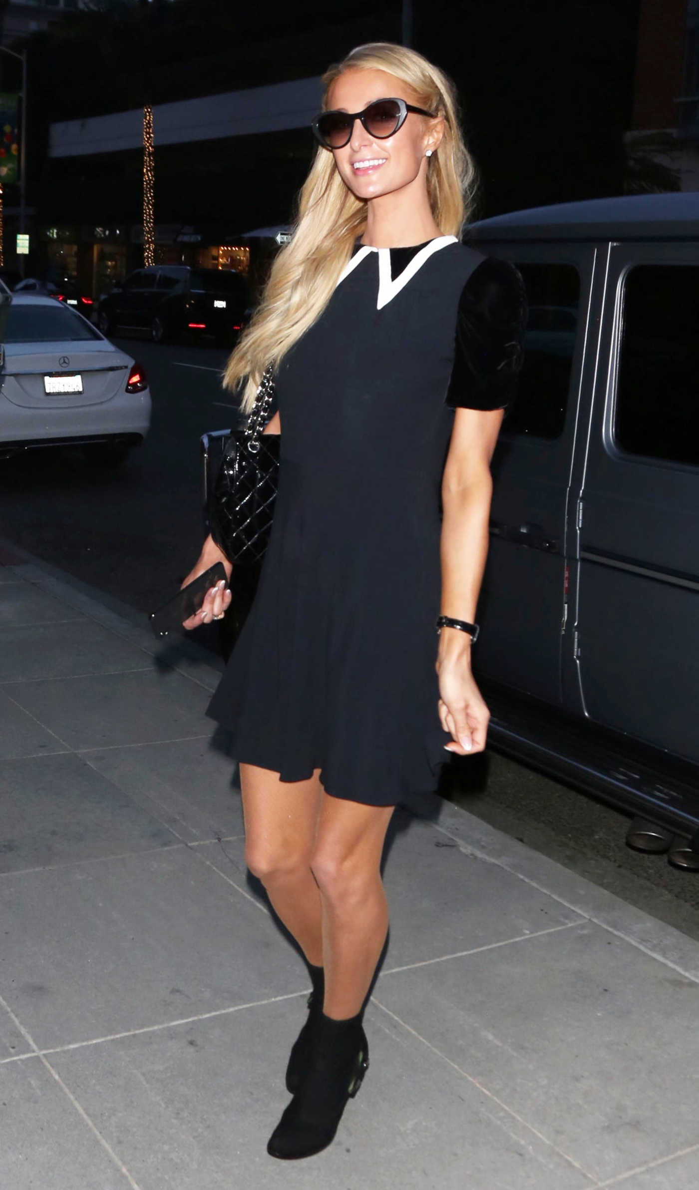 Paris Hilton in a Short Black Dress Was Seen Out in Beverly Hills 12/14/2018