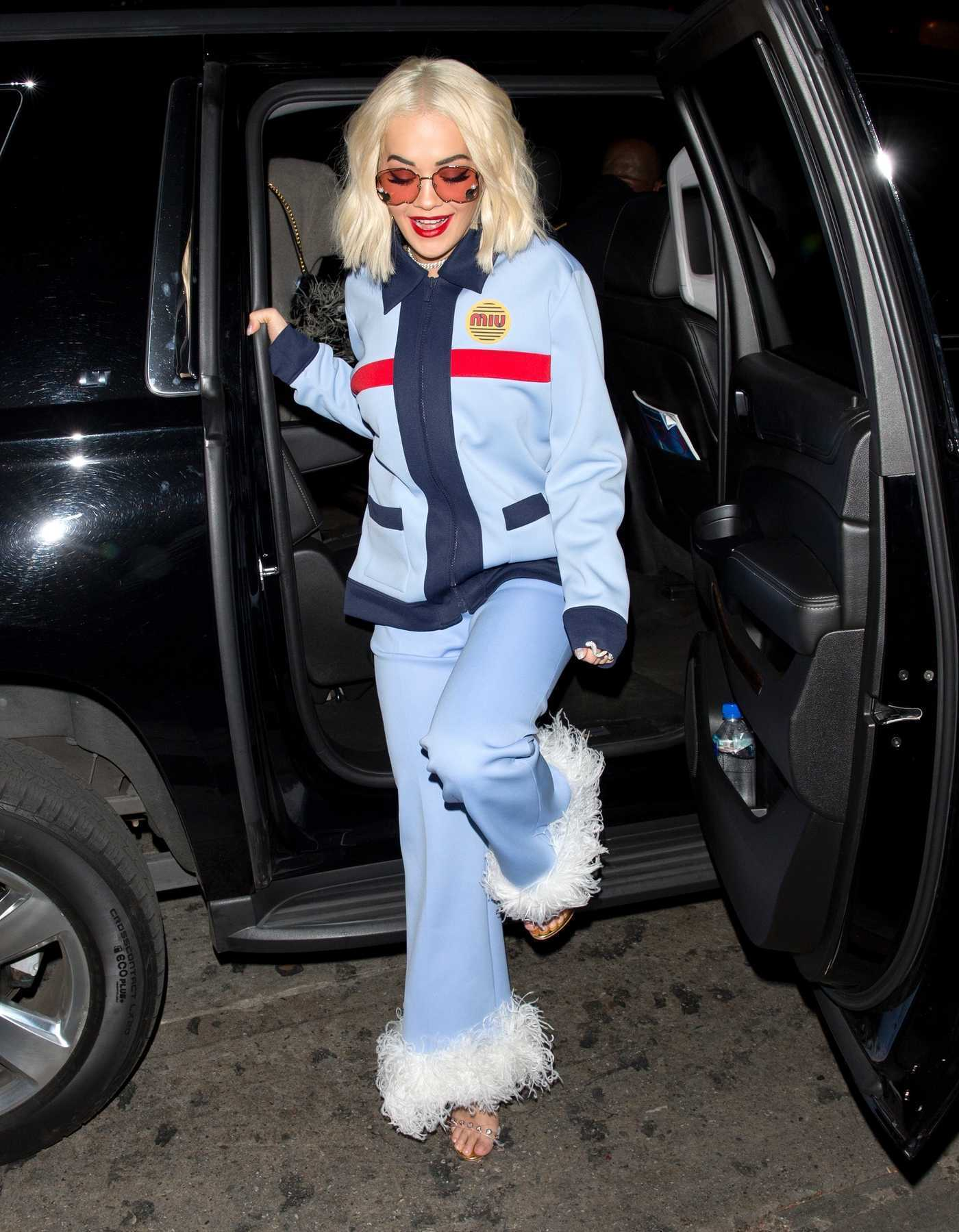 Rita Ora in a Blue Suit Was Seen Out in West Hollywood 12/04/2018