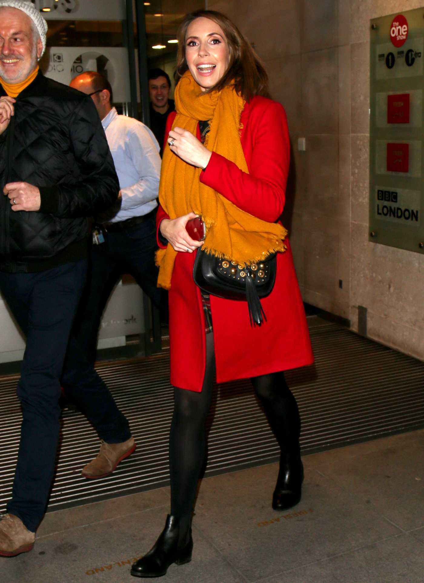 Alex Jones in a Red Coat Arrives at The One Show in London 01/17/2019