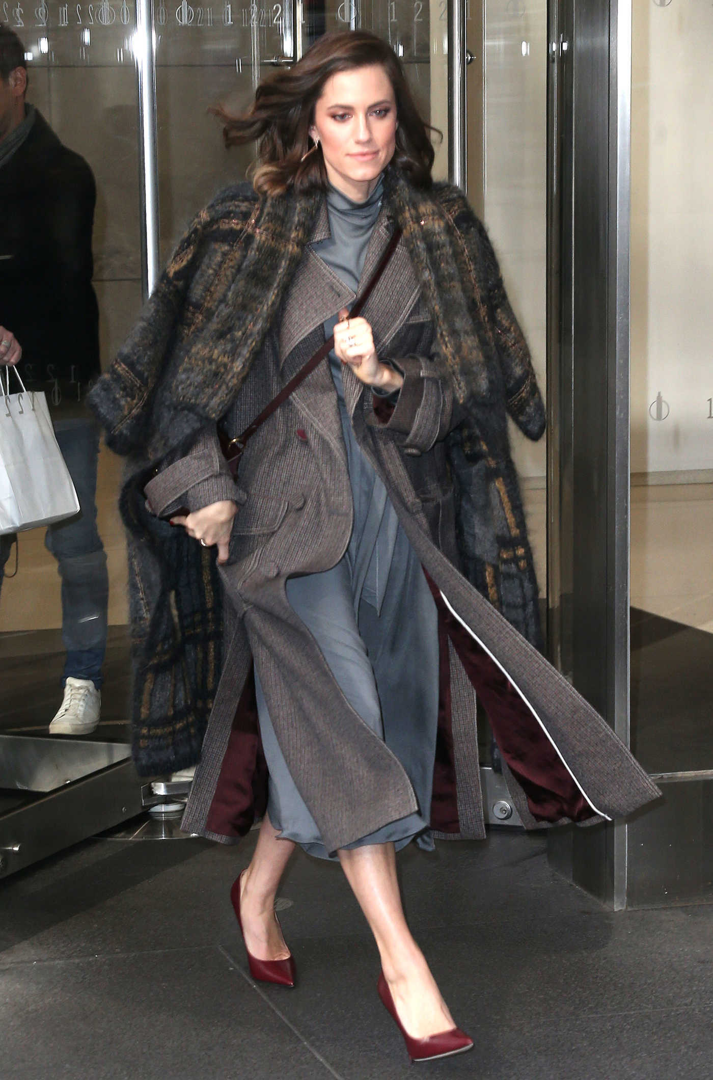 Allison Williams in a Plaid Coat Leaves the Sirius Radio in New York 01/07/2019