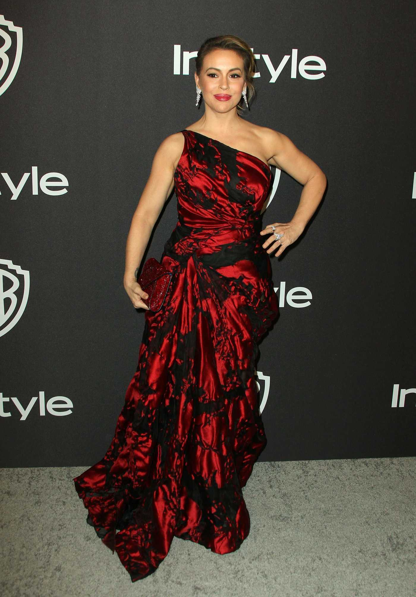 Alyssa Milano Attends InStyle and Warner Bros Golden Globes After Party in Beverly Hills 01/06/2019