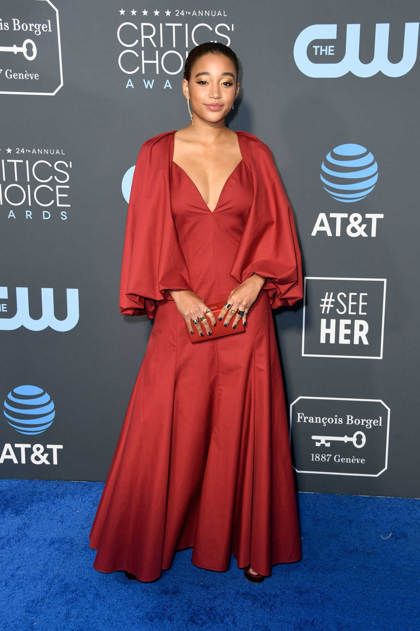Amandla Stenberg Attends the 24th Annual Critics' Choice Awards at Barker Hangar in Santa Monica 01/13/2019