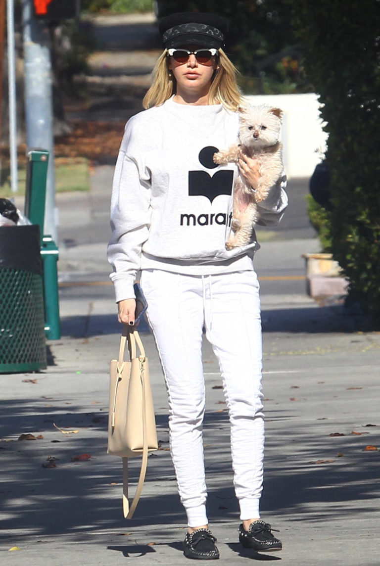 Ashley Tisdale in a White Jogging Suit