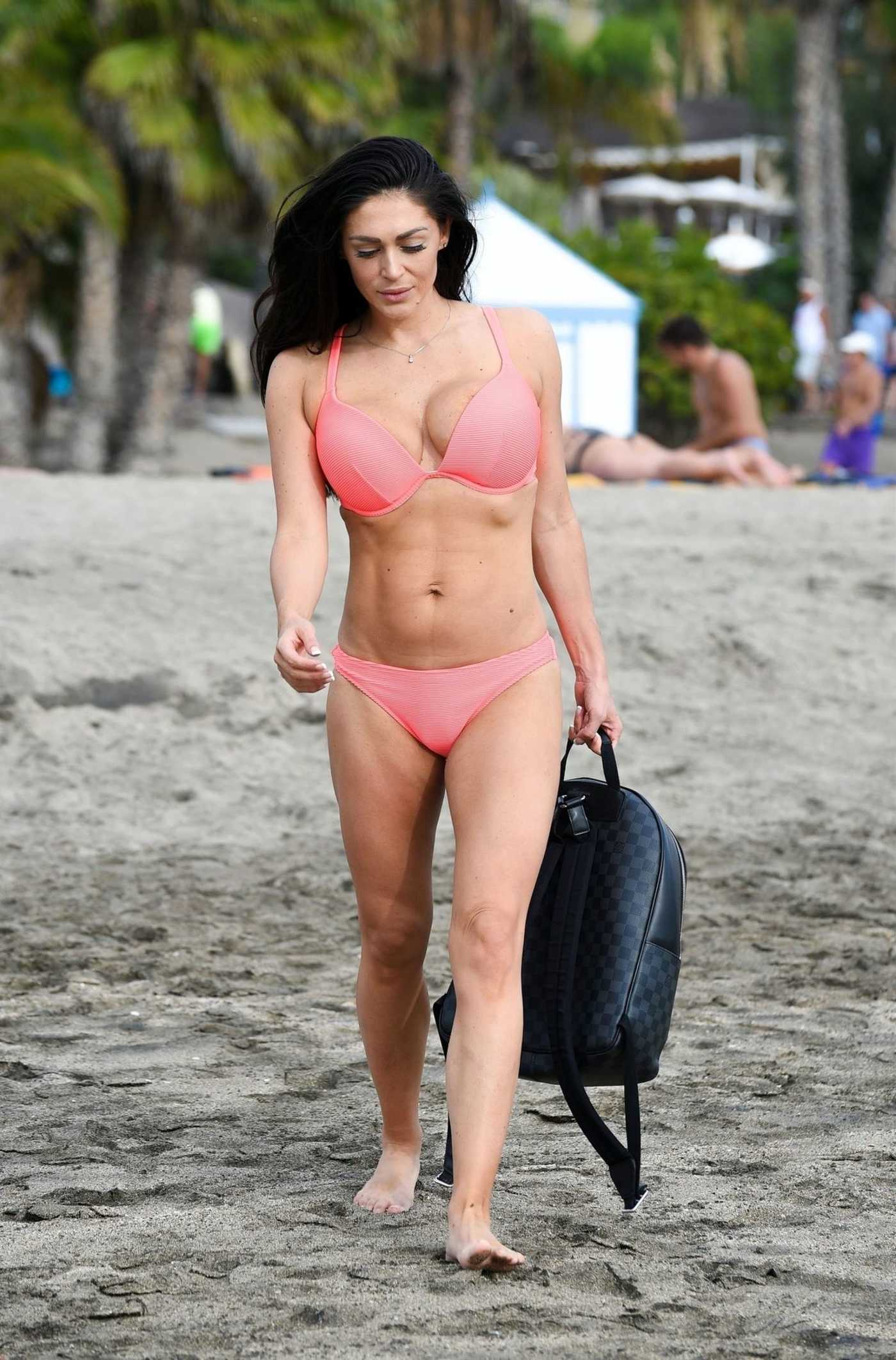 Casey Batchelor in a Pink Bikini on the Beach in Tenerife 01/07/2019