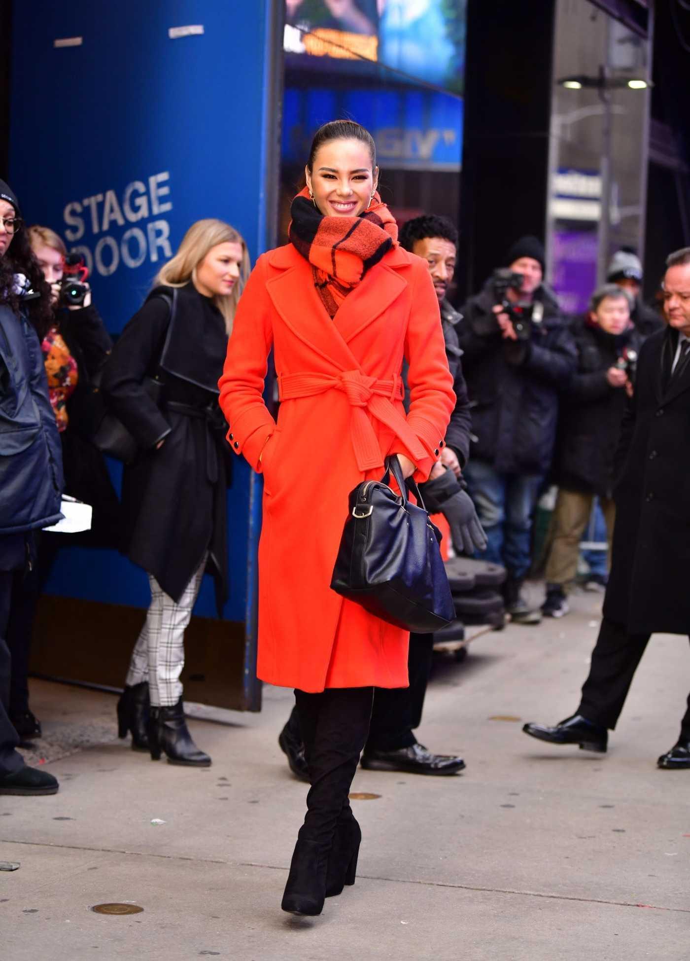 Catriona Gray in a Red Coat Leaves Good Morning America Studios in New York City 01/07/2019