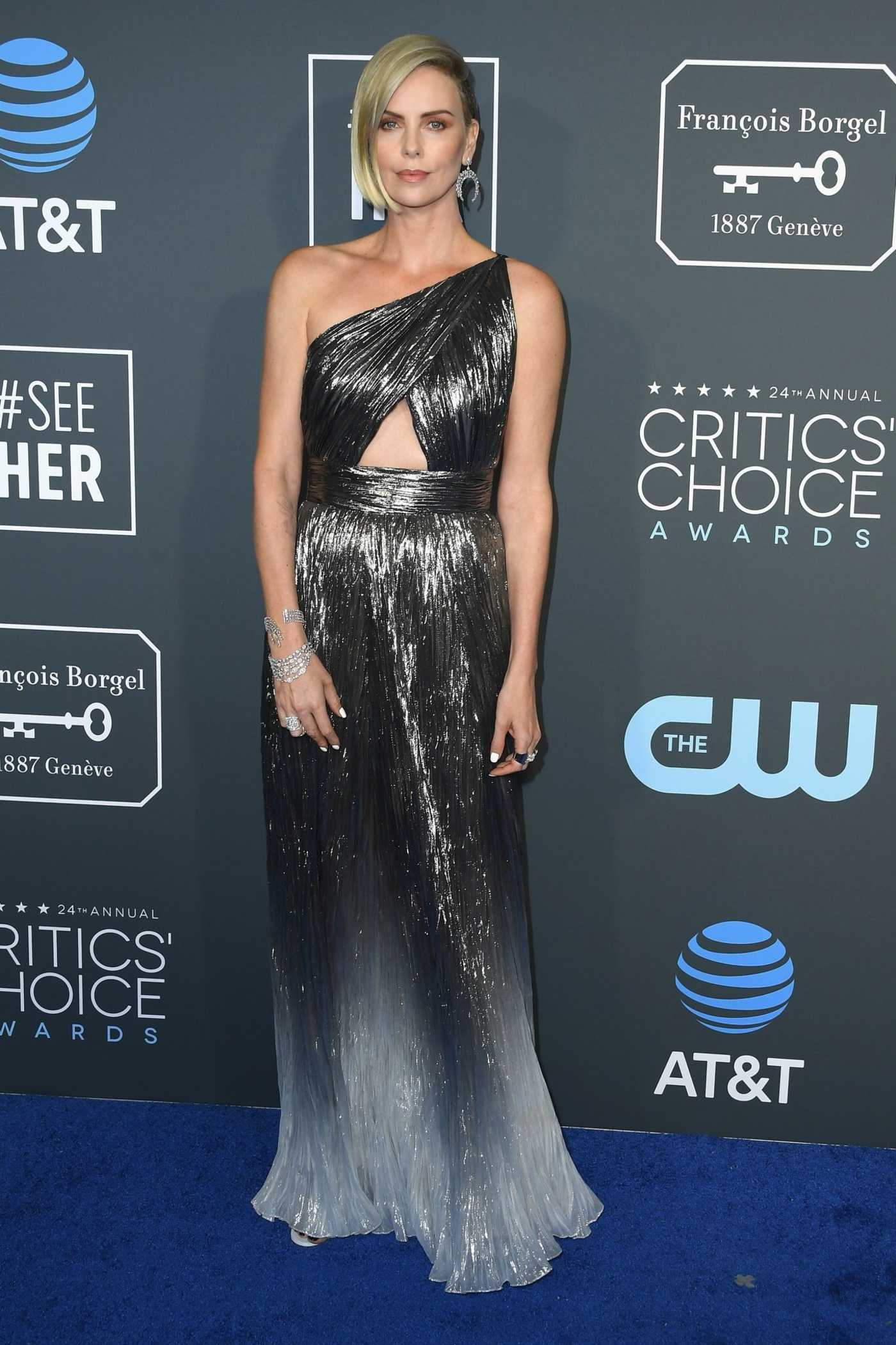 Charlize Theron Attends the 24th Annual Critics' Choice Awards at Barker Hangar in Santa Monica 01/13/2019