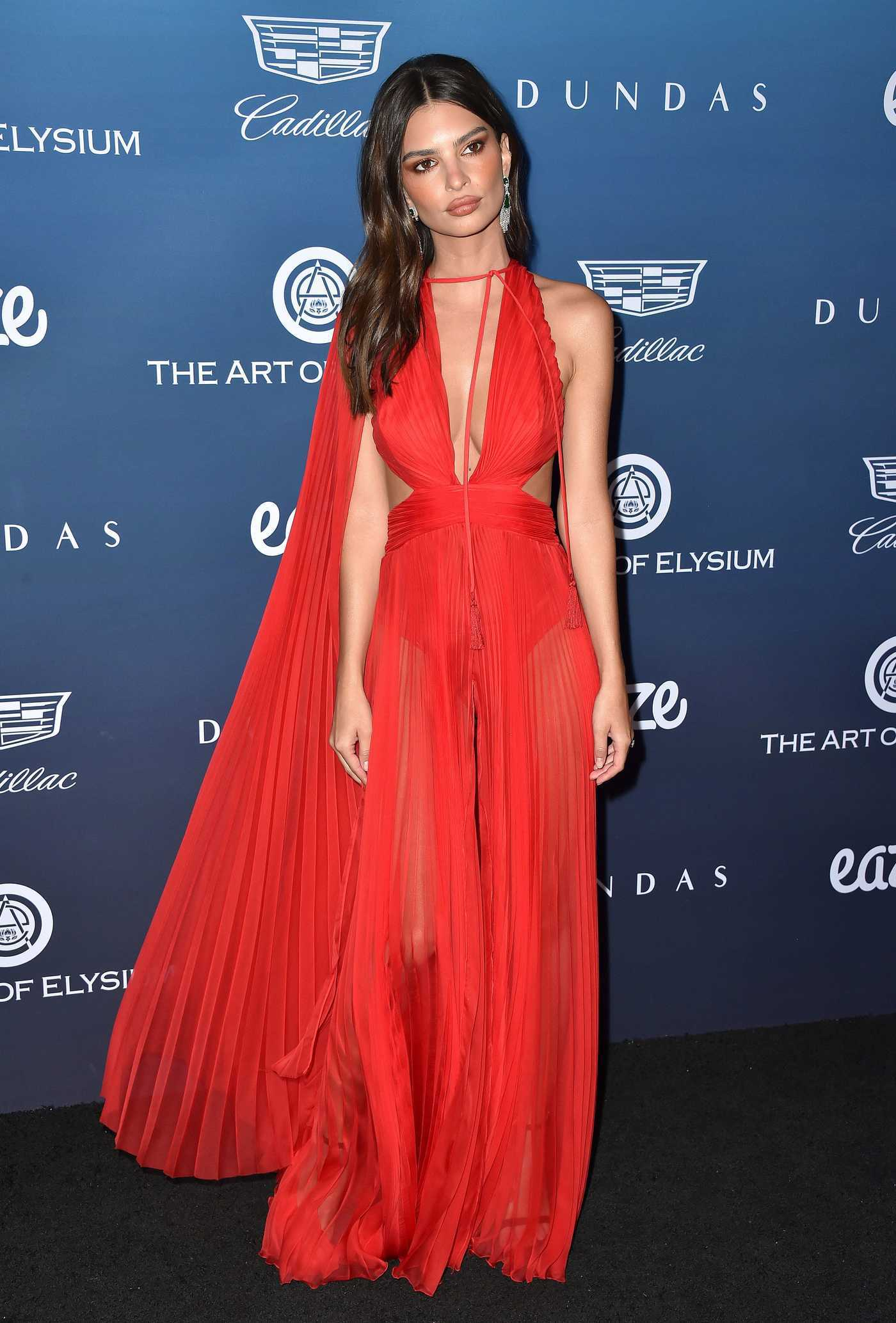 Emily Ratajkowski Attends The Art of Elysium's 12th Annual Black Tie Event Heaven in LA 01/05/2019