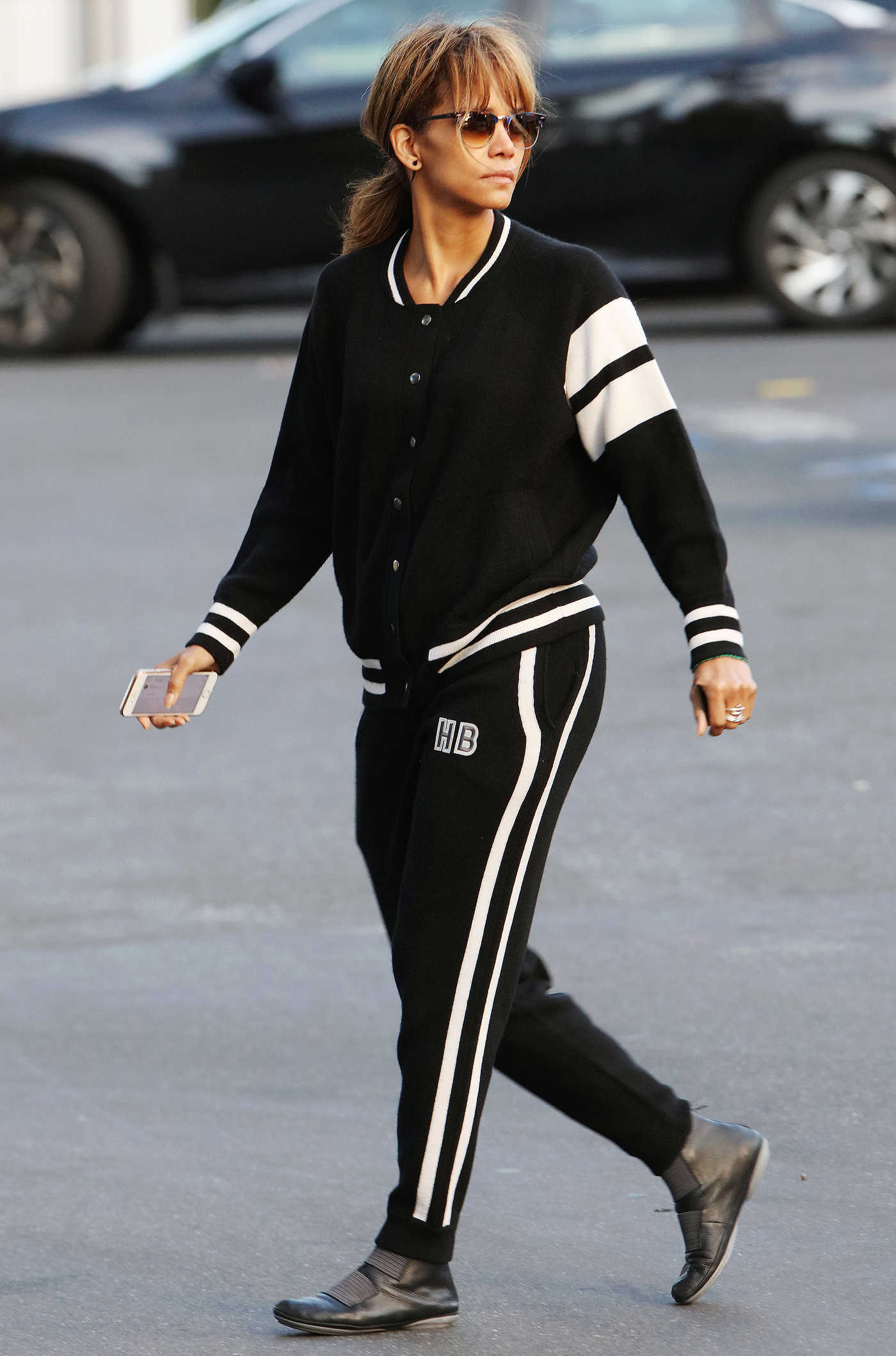 Halle Berry in a Black Jogging Suit Goes Shopping in Beverly Hills 01/03/2019