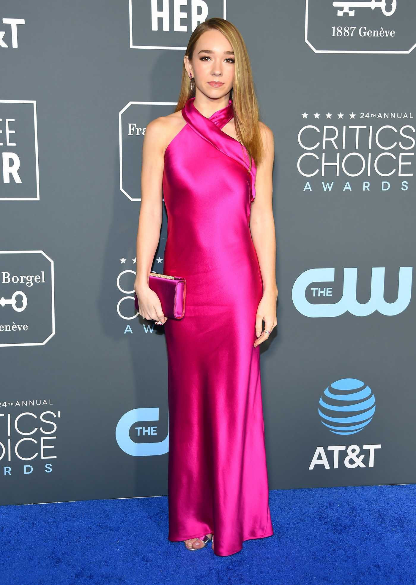 Holly Taylor Attends the 24th Annual Critics' Choice Awards at Barker Hangar in Santa Monica 01/13/2019