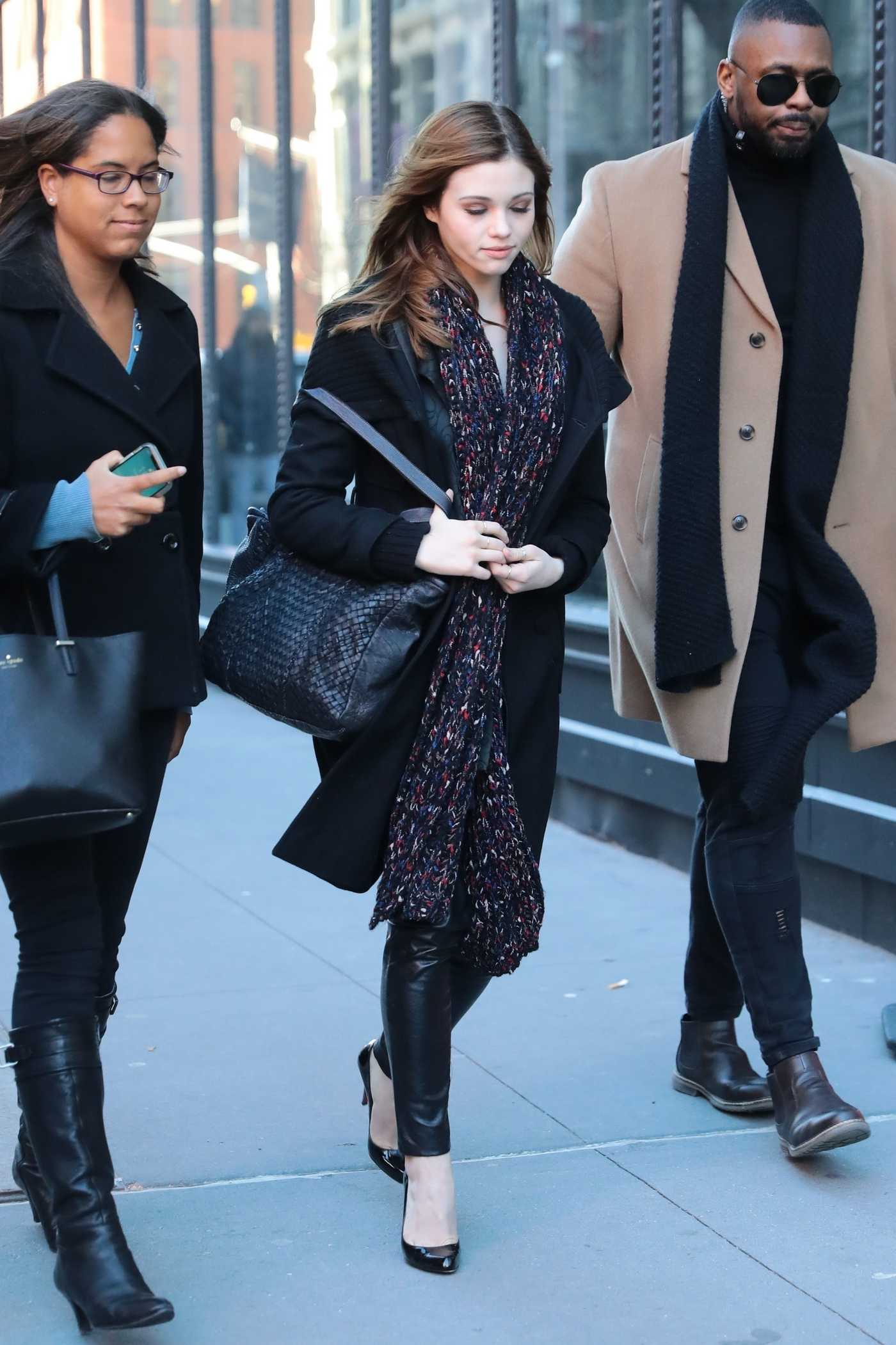 India Eisley in a Black Coat Arrives at AOL Build Series in New York 01/22/2019