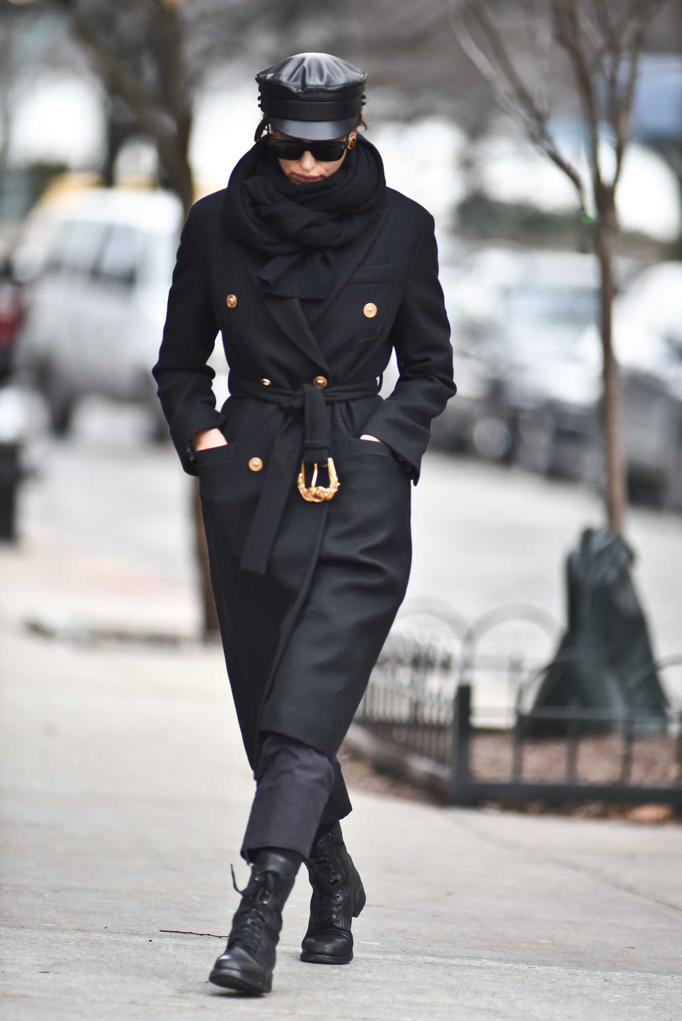 Irina Shayk in a Black Coat Was Seen Out in New York 01/19/2019