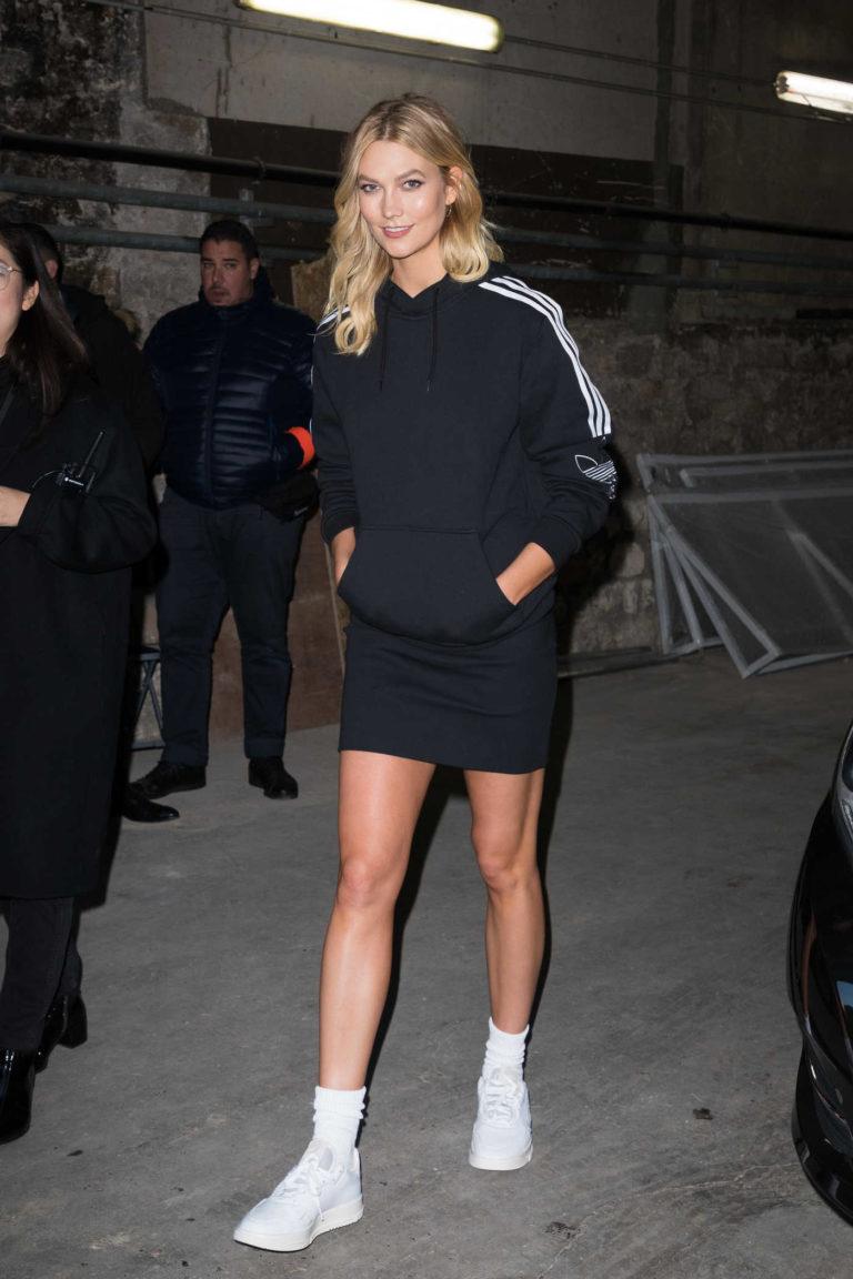 Karlie Kloss in a Black Adidas Hoody