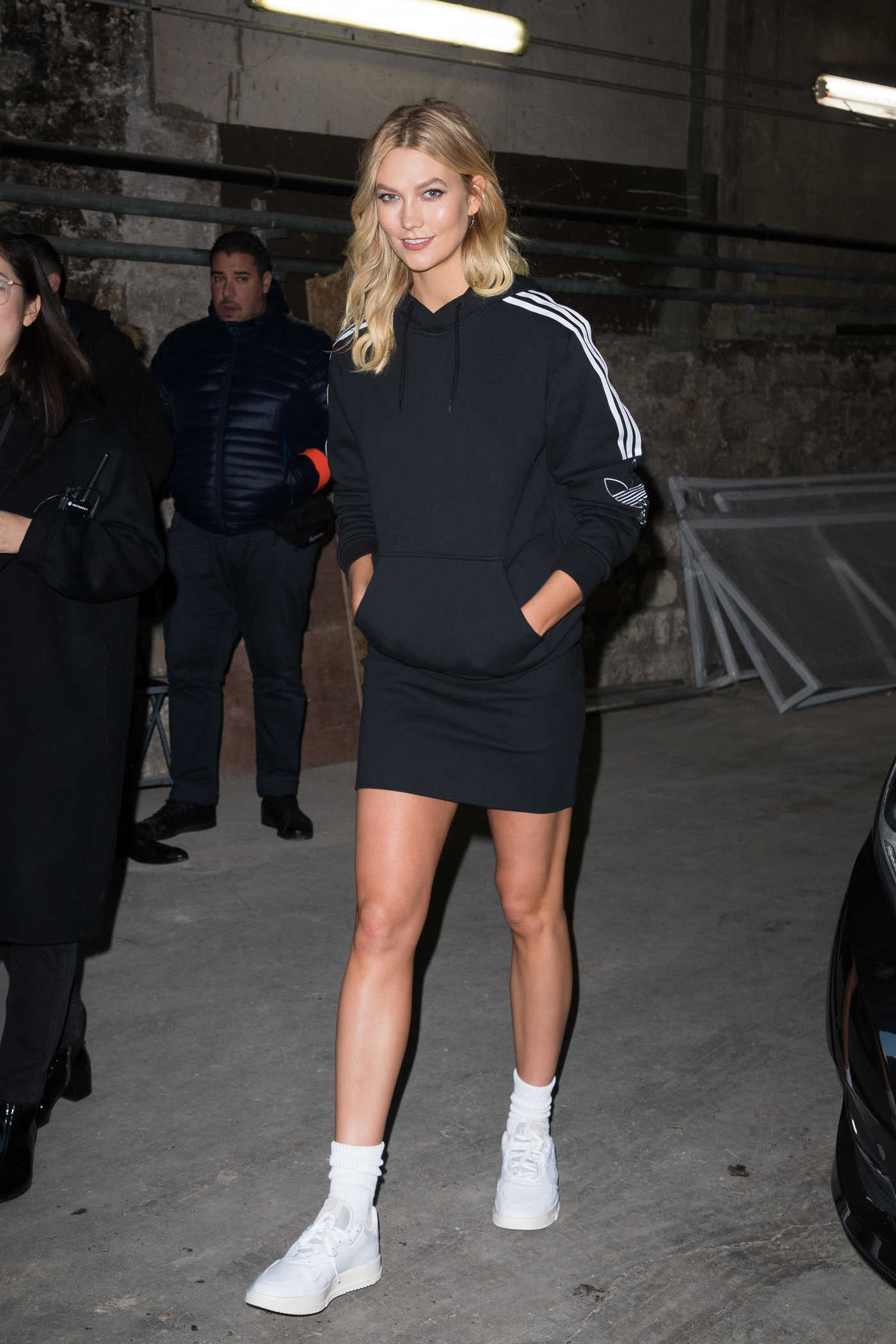 Karlie Kloss in a Black Adidas Hoody Leaves the Adidas Show During the Paris Fashion Week in Paris 01/18/2019