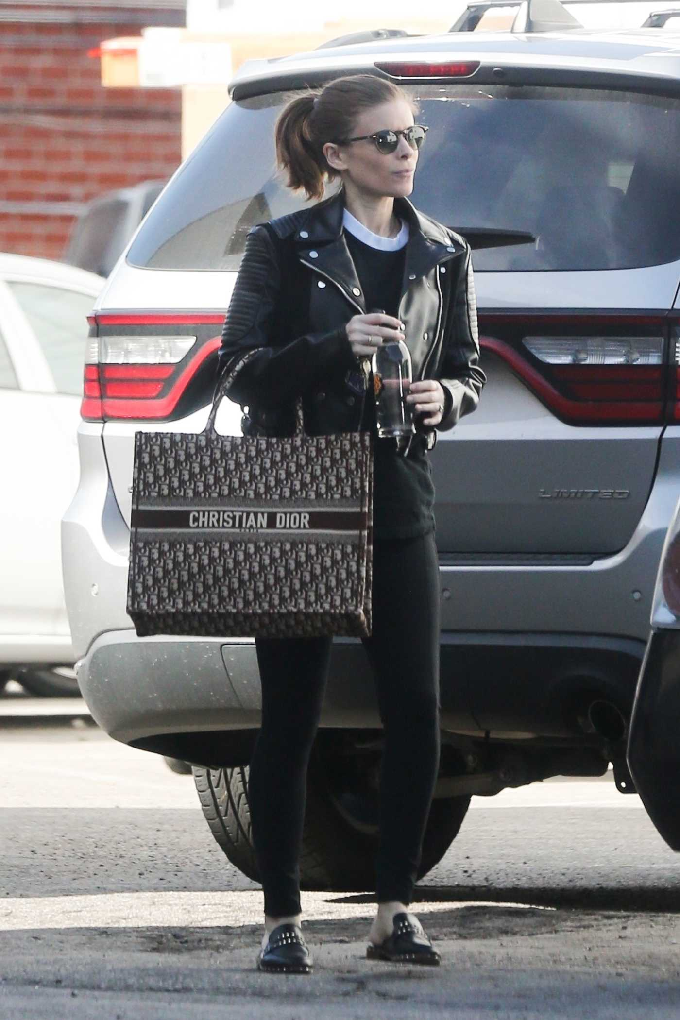 Kate Mara in a Black Leather Jacket Leaves the Gym in LA 01/22/2019