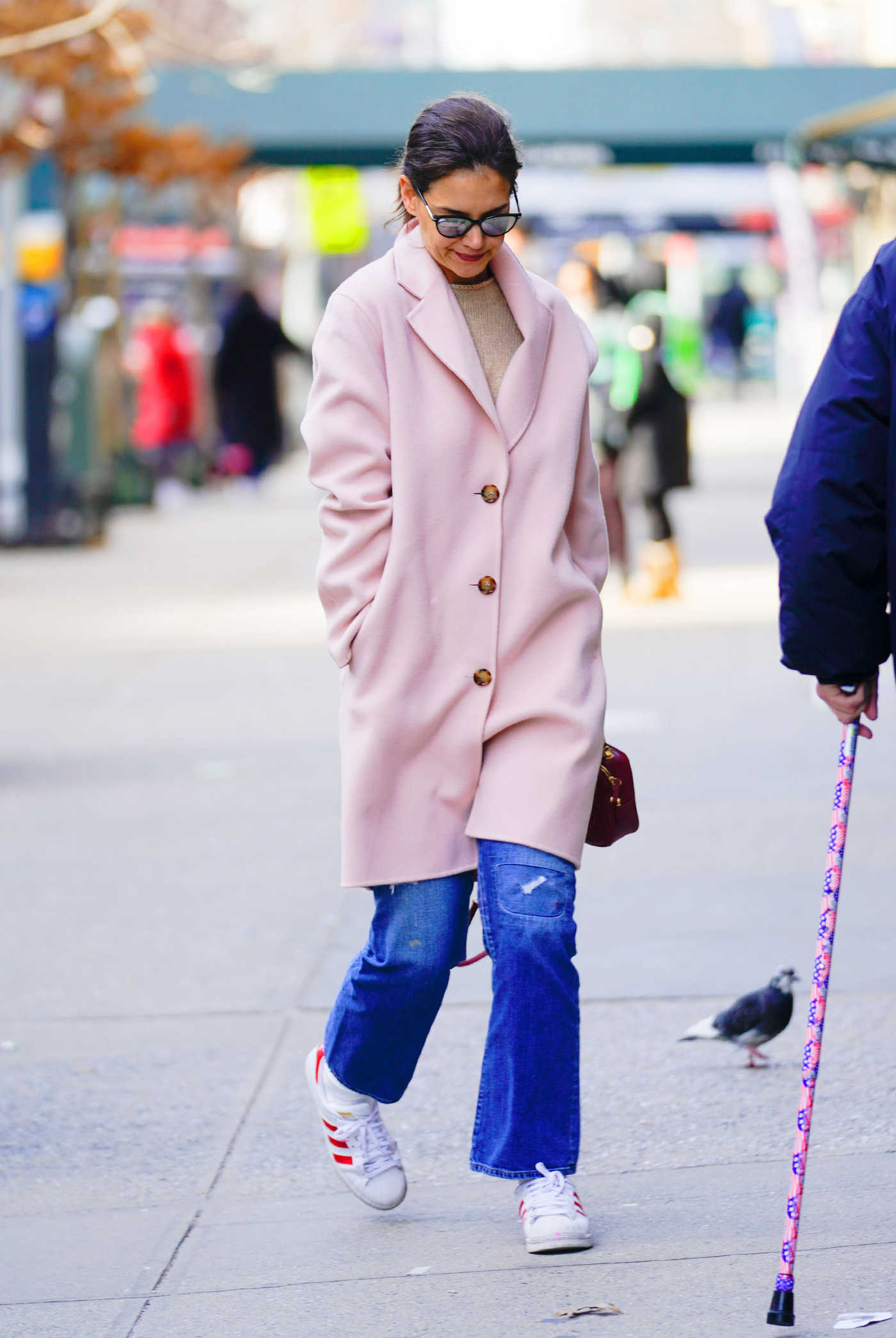 Katie Holmes in a Pink Coat Was Seen Out in New York 01/15/2019