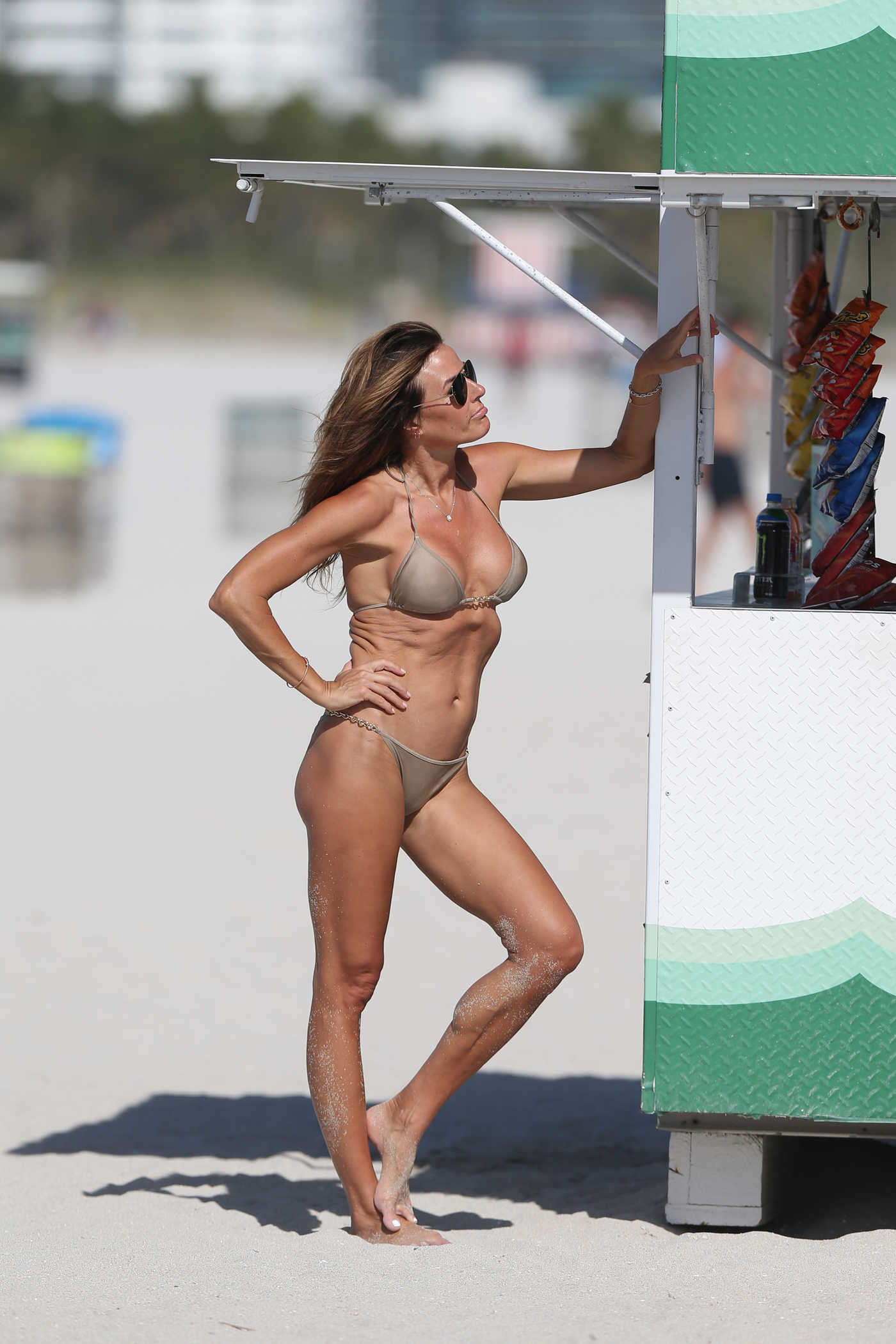 Kelly Bensimon in a Beige Bikini on the Beath in Miami 01/01/2019