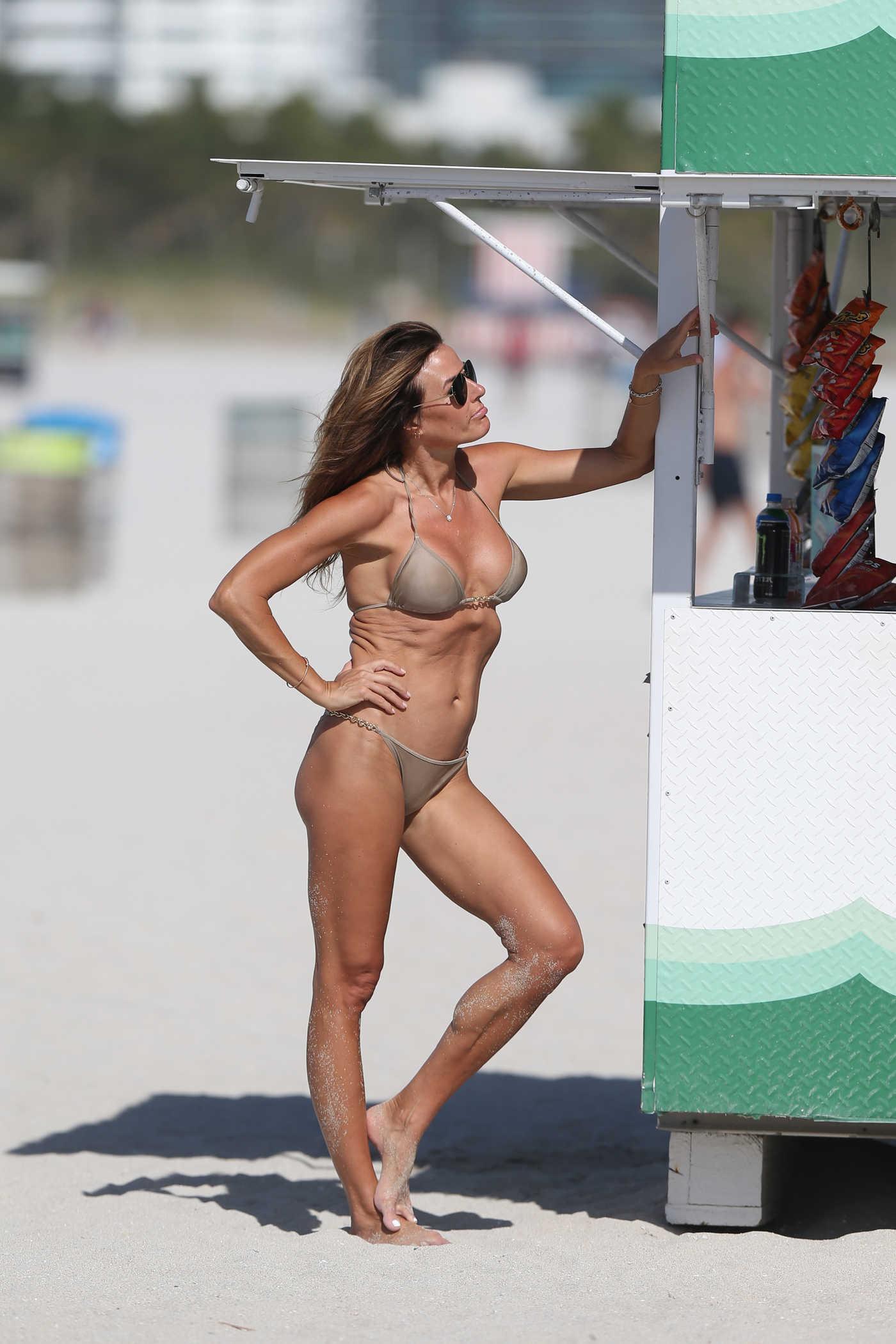 Kelly Bensimon in a Beige Bikini on the Beath in Miami 01/01/2019