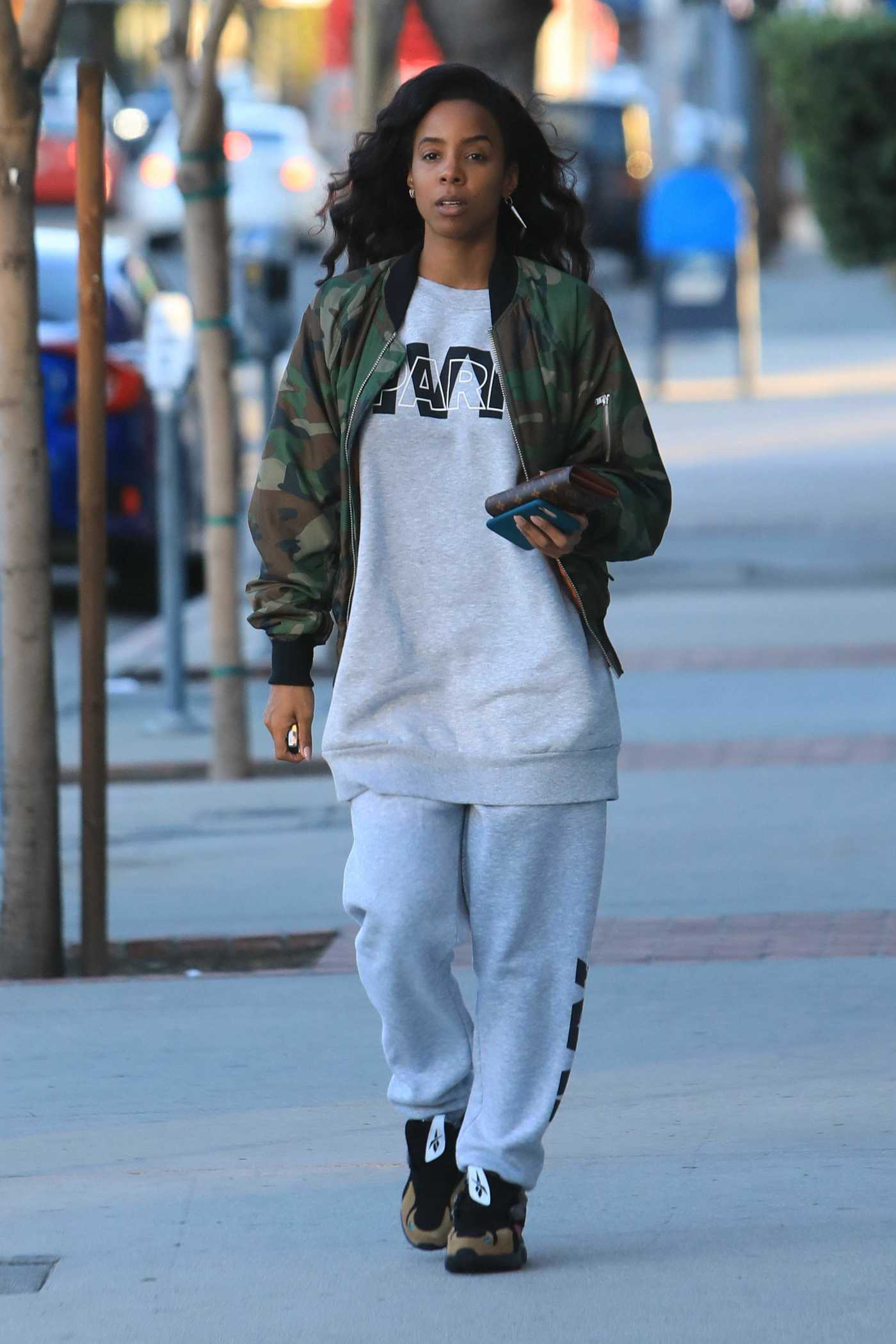 Kelly Rowland in a Camo Bomber Jacket Was Seen Out in Los Angeles 01/01/2019