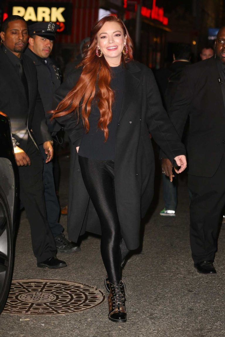Lindsay Lohan in a Black Coat