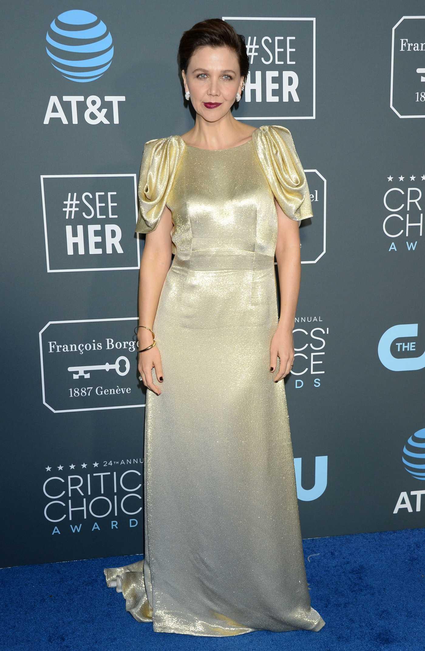 Maggie Gyllenhaal Attends the 24th Annual Critics' Choice Awards at Barker Hangar in Santa Monica 01/13/2019